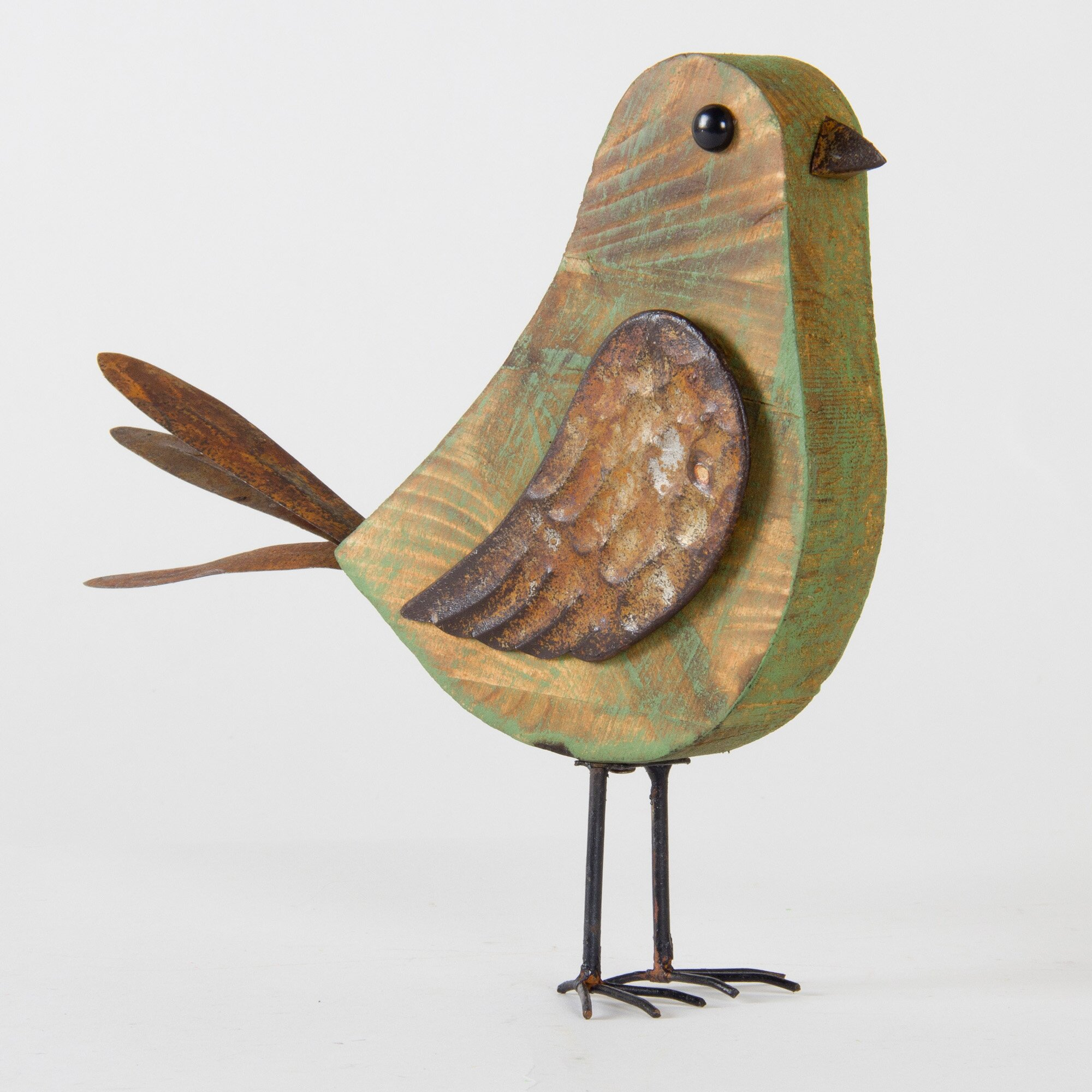 Glitzhome iron wooden outdoor decorative bird statue for Decorative birds for outside