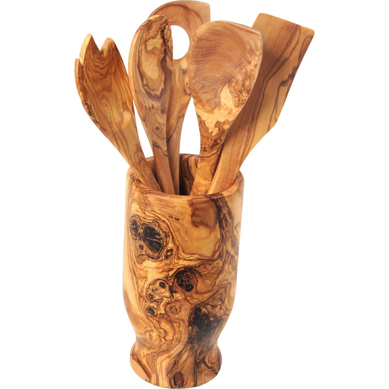 Kitchen Utensil Holder Beldi Nest Hand Carved Utensil Holder And 6 Piece Kitchen Tool Set