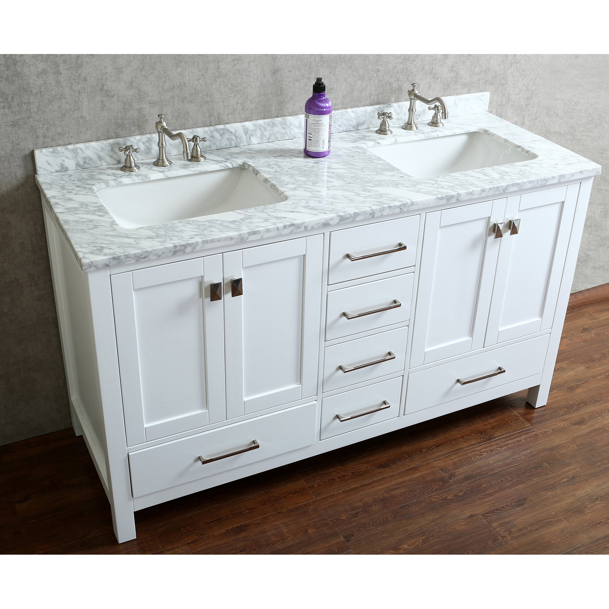 "Ari Kitchen & Bath Bella 60"" Double Bathroom Vanity Set With Mirror & Reviews"