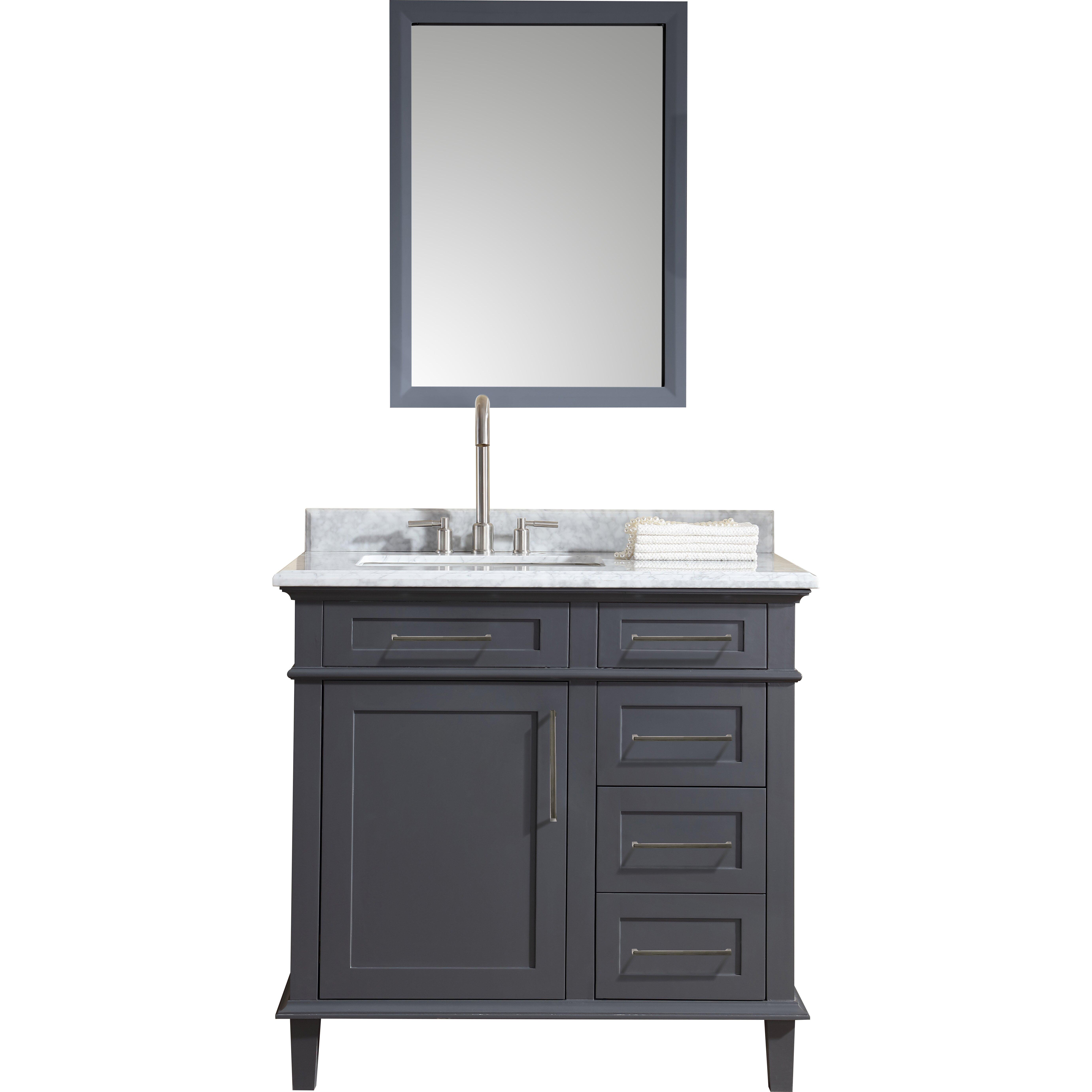 "ari kitchen & bath newport 36"" single bathroom vanity set"
