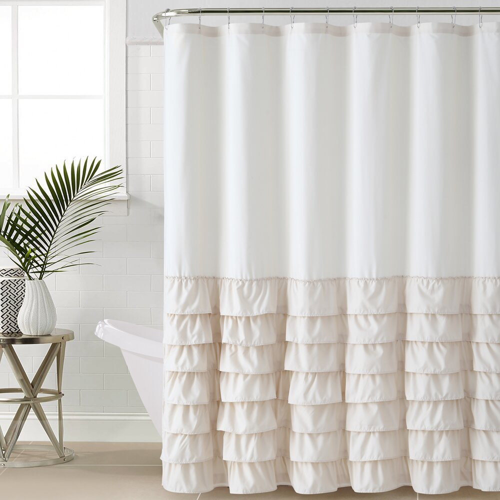 Mint green shower curtain and rugs - Quick View Peeples Ruffle Shower Curtain