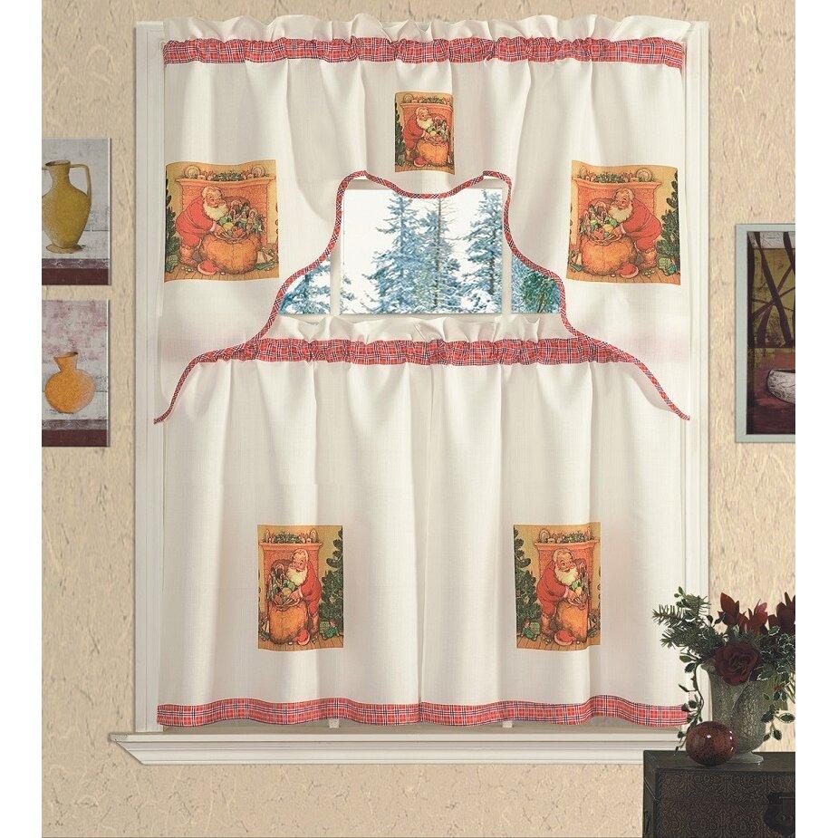 Gift Kitchen Daniels Bath Santa Gift Kitchen Curtain Set Wayfair