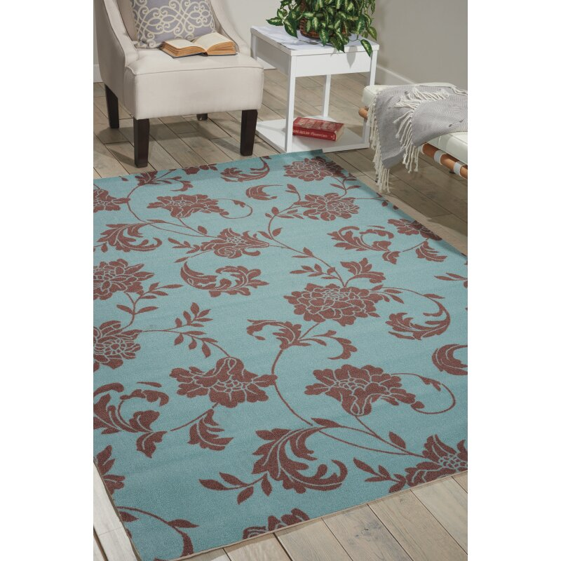 Light Blue And Brown Area Rug Home Decor