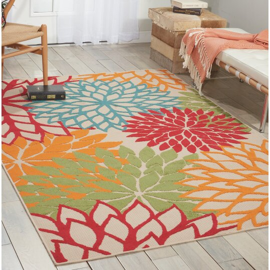 Nourison Aloha Red Blue Green Indoor Outdoor Area Rug