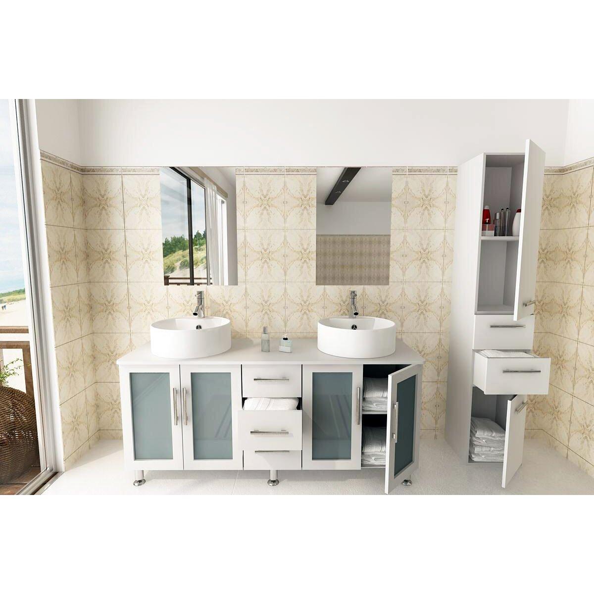 Jwh Living Lune 59 Double Vessel Modern Bathroom Vanity Set Reviews Wayfair