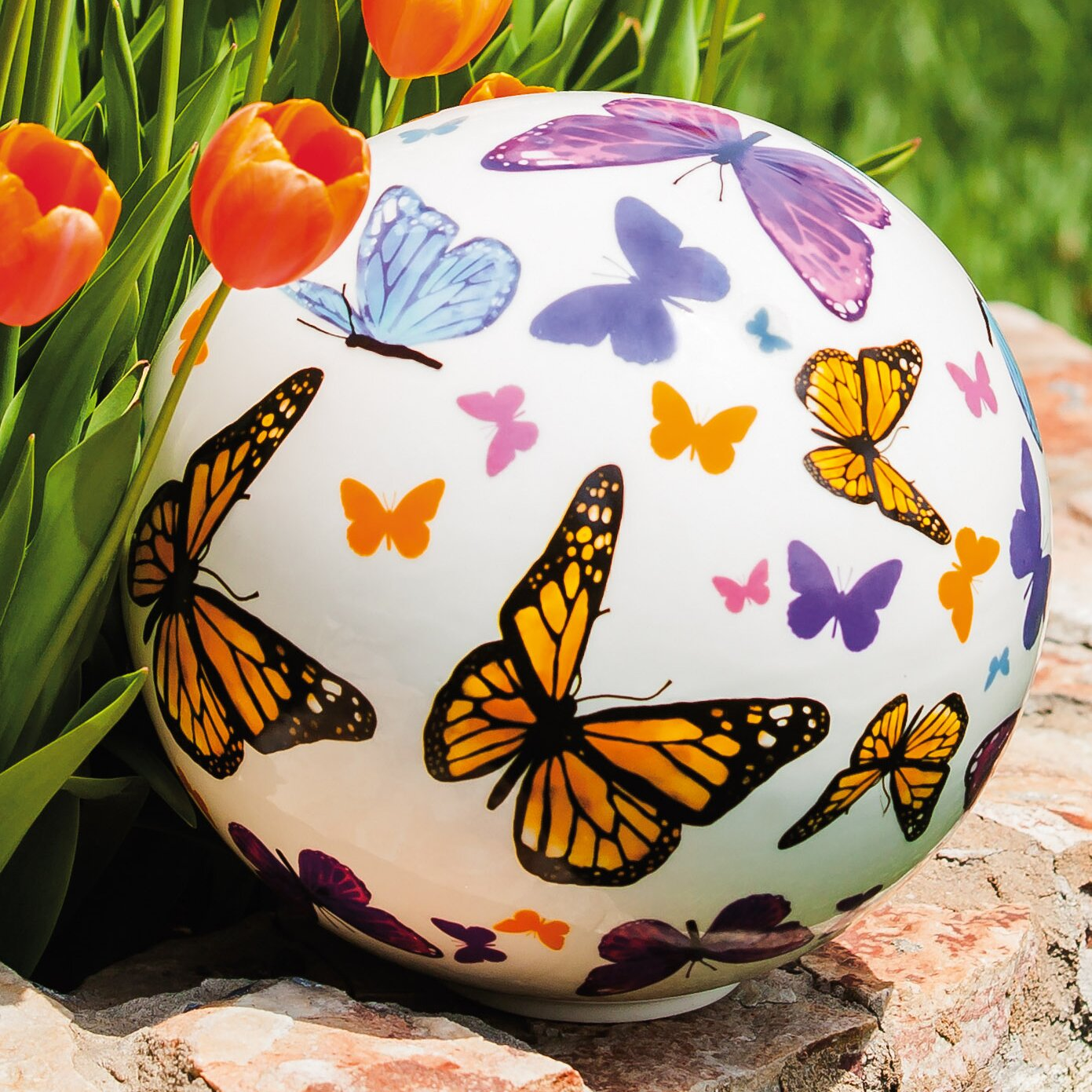 August Grove Fluttering Butterflies Ceramic Decorative Orb