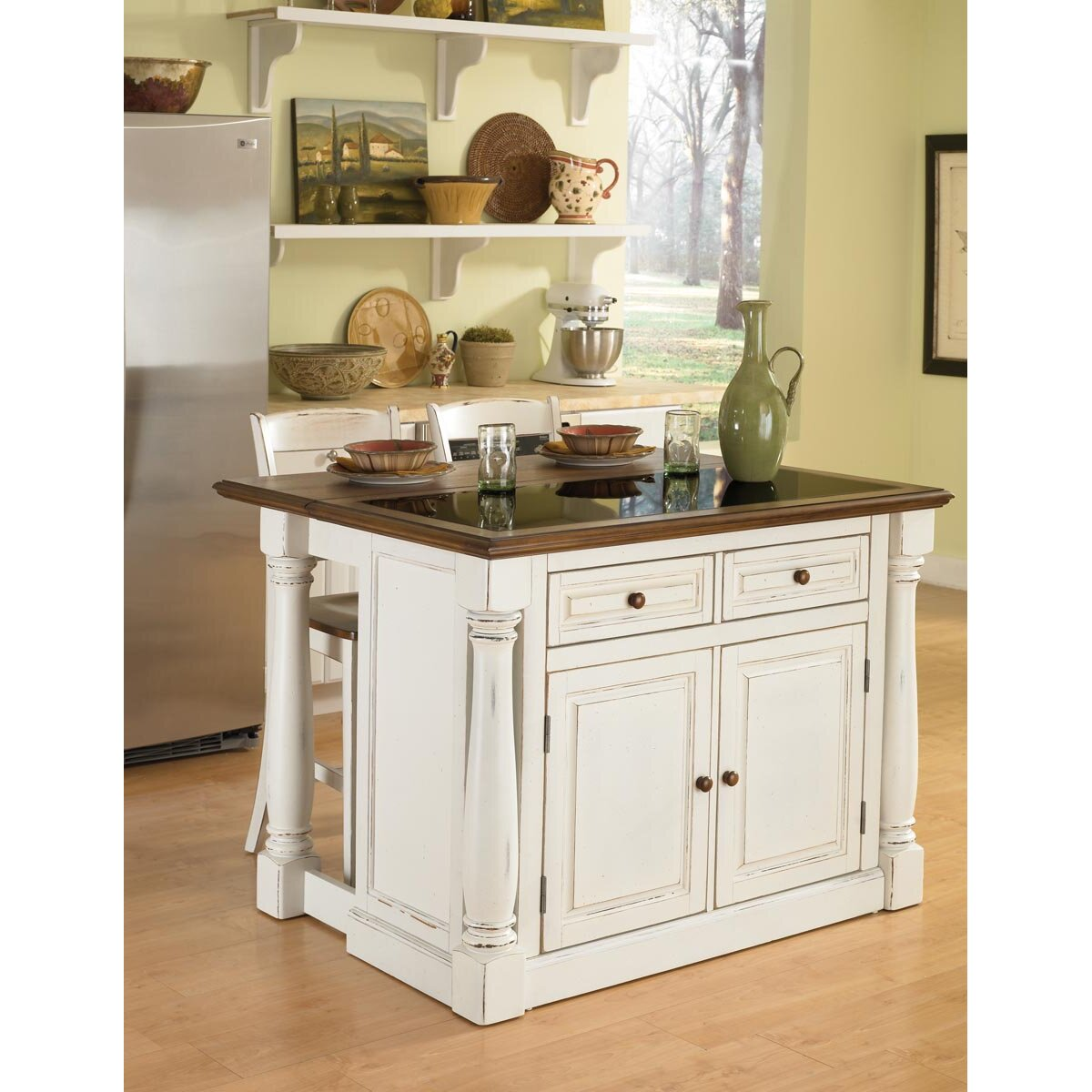 August Grove Shyanne Kitchen Island Set With Granite Top Reviews