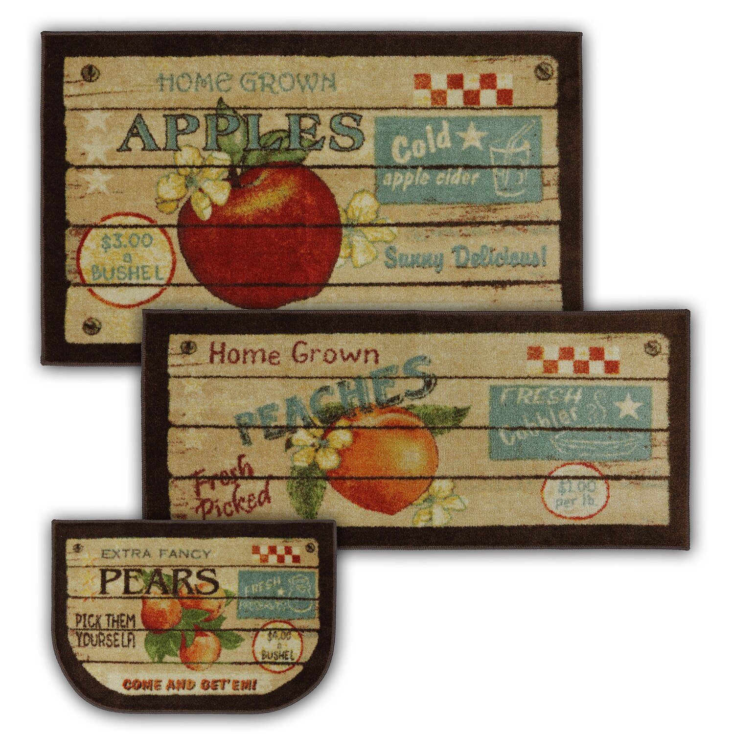 kitchen door mats c a~ cushioned kitchen floor mats Corrine 3 Piece Fruit Crate Kitchen Mat Set