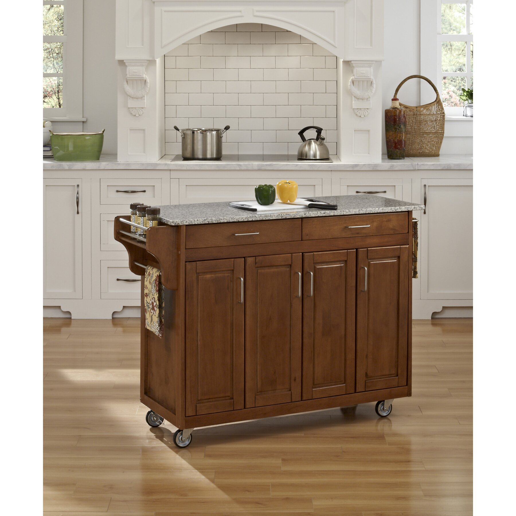 Granite Top Kitchen August Grove Regiene Kitchen Island With Granite Top Reviews