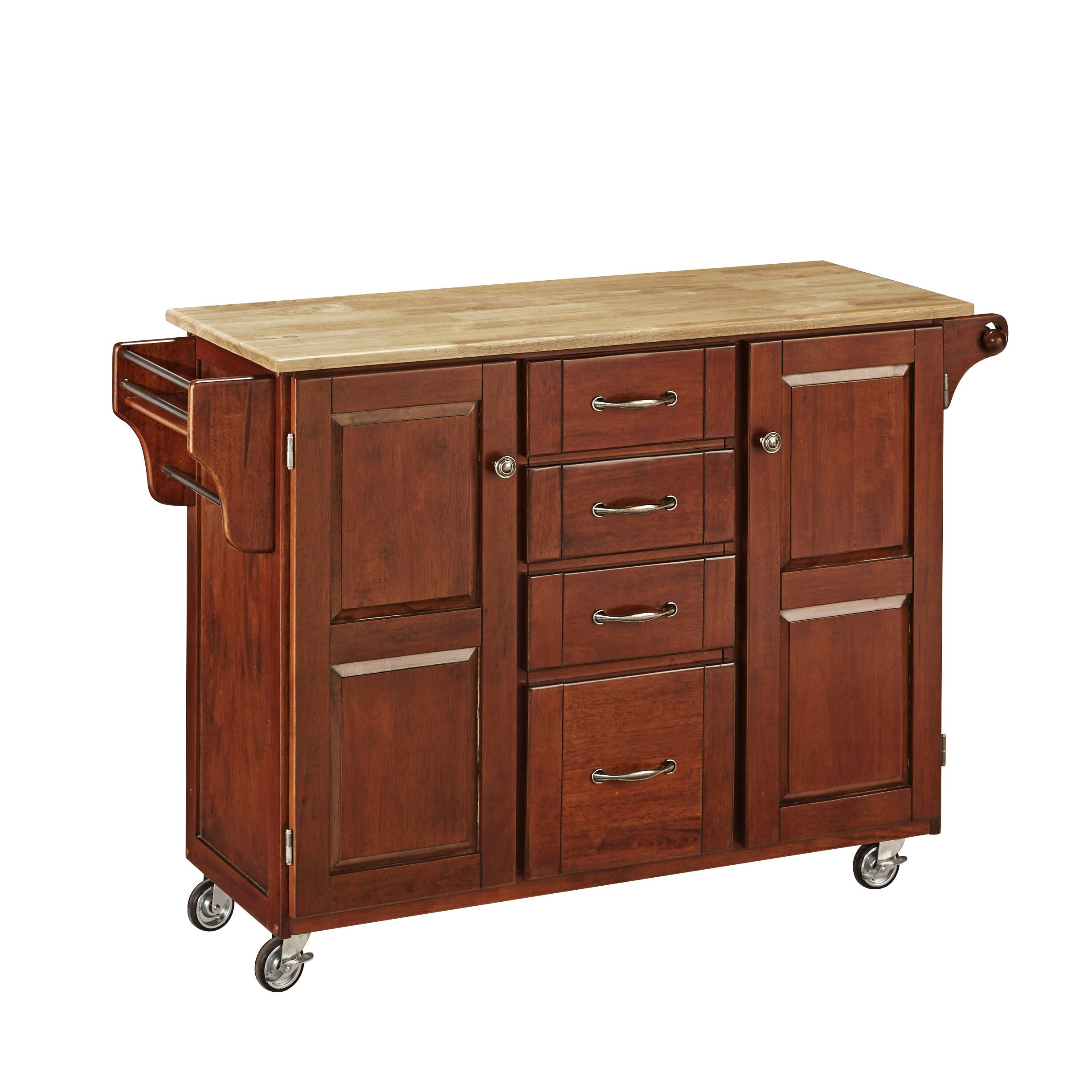 Adelle A Cart Kitchen Island With Butcher Block Top