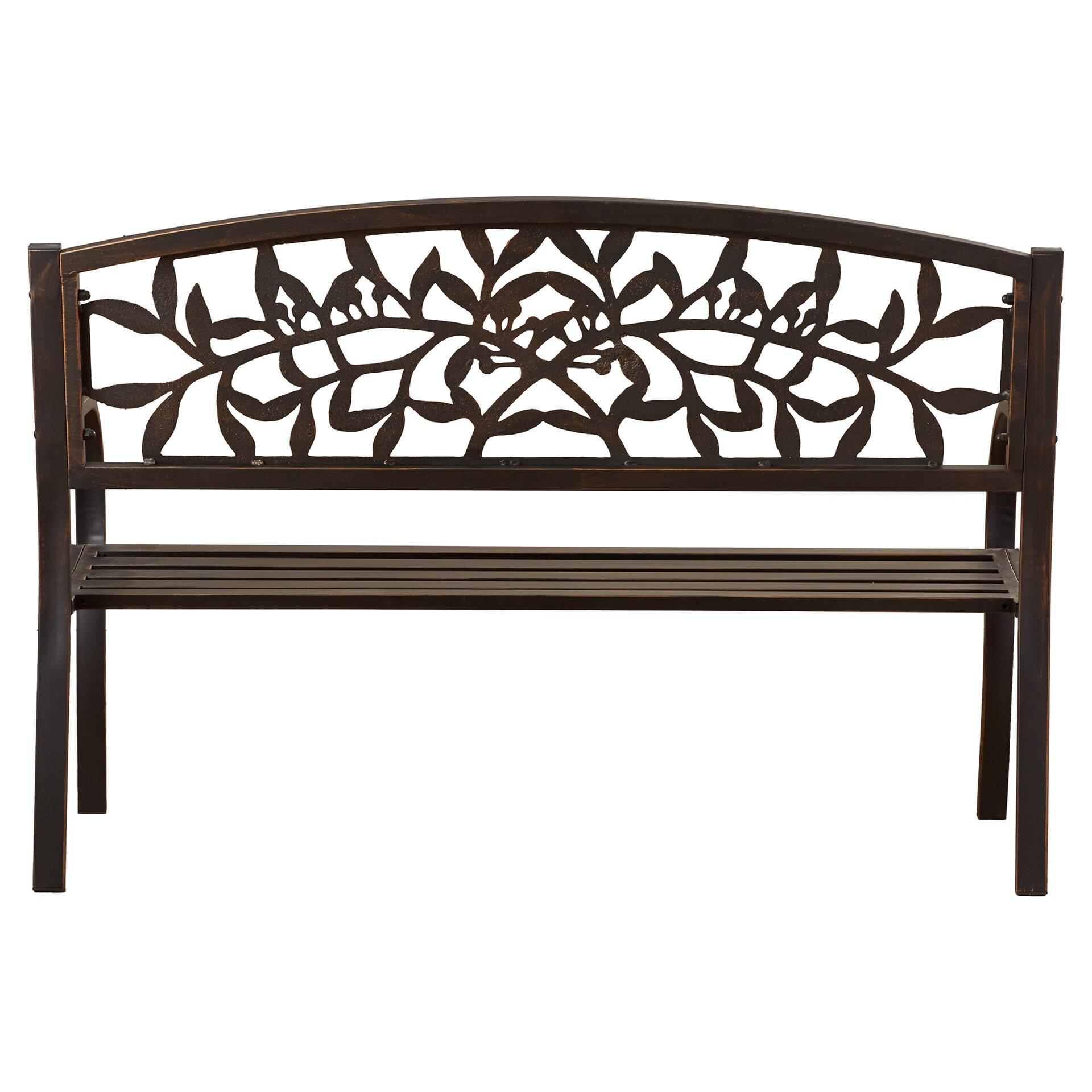 One Allium Way Georgiana Metal Garden Bench Reviews – Outdoor Iron Bench