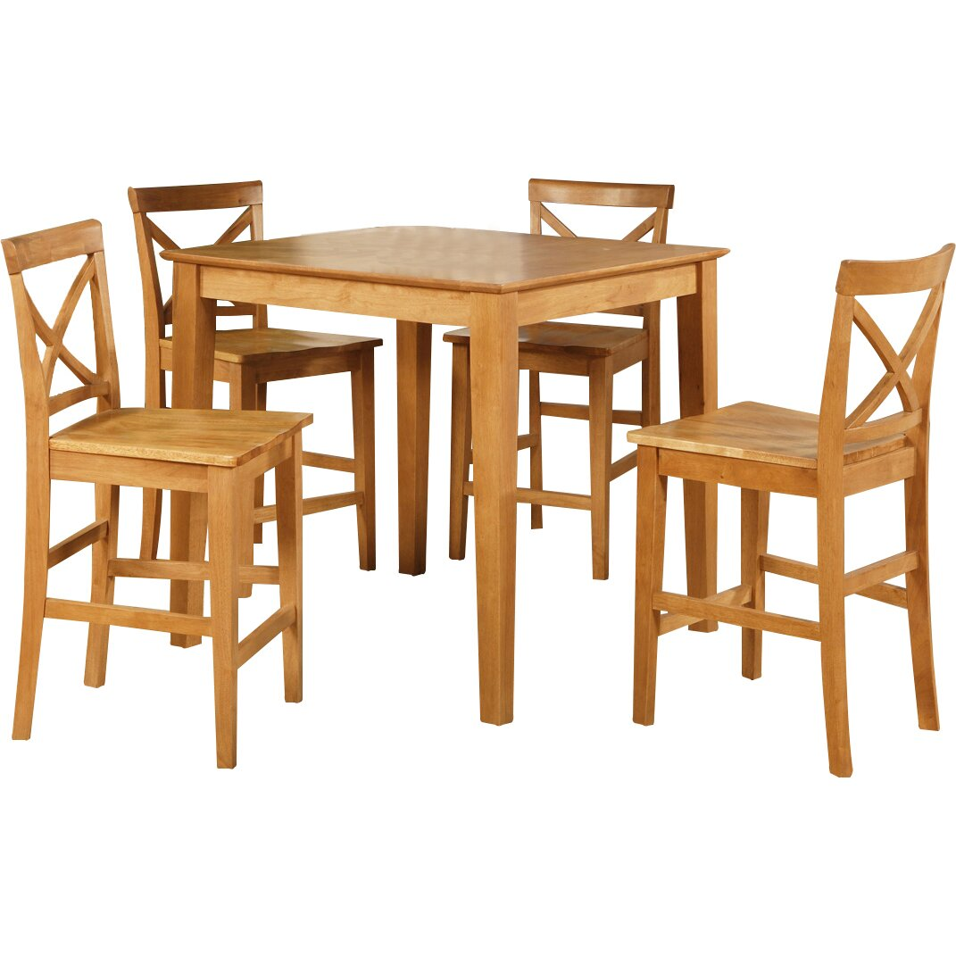 5 Piece Bar Table Set One Allium Way Mathys 5 Piece Counter Height Pub Table Set