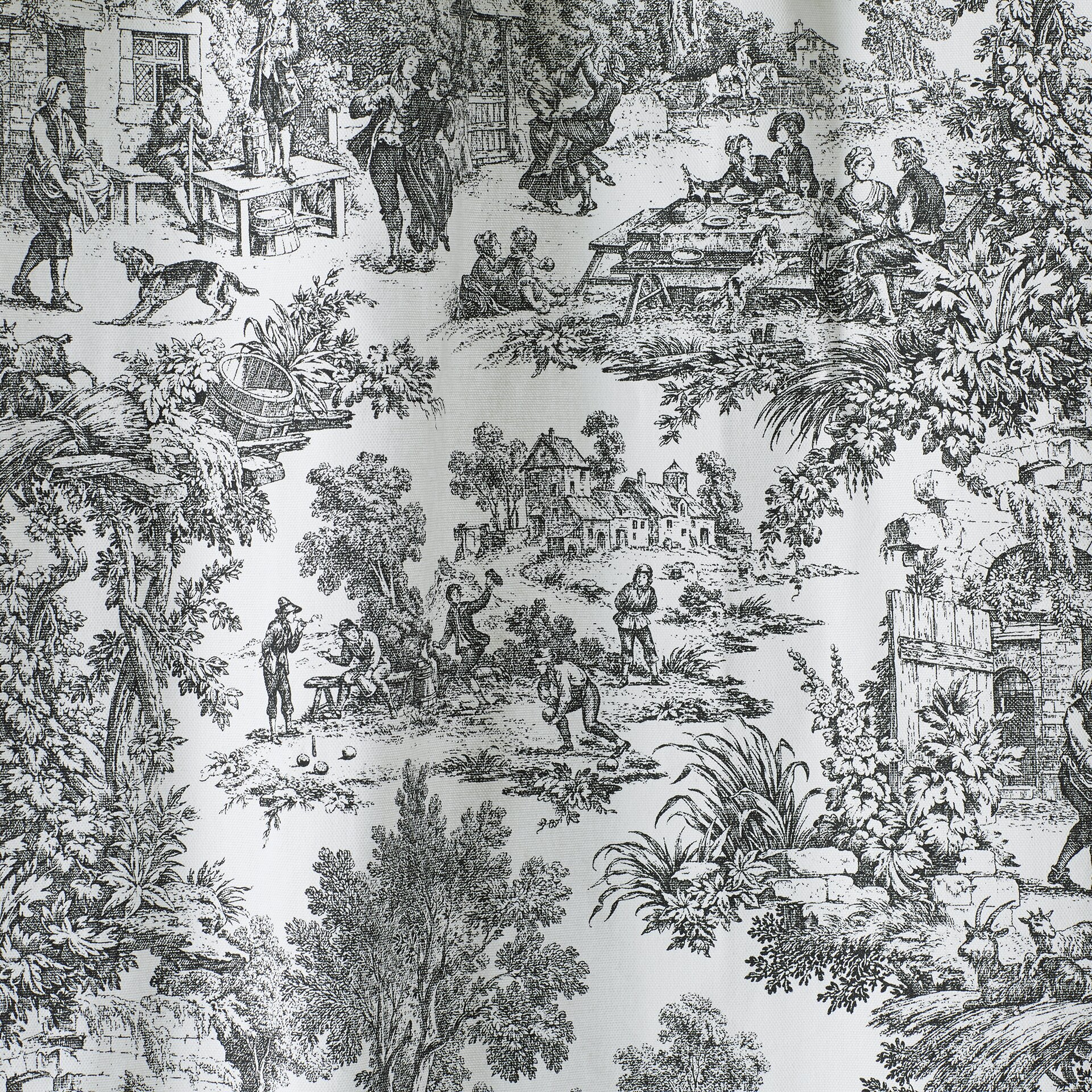 Black toile shower curtain - One Allium Way Reg Lablanc Cotton Toile Shower Curtain