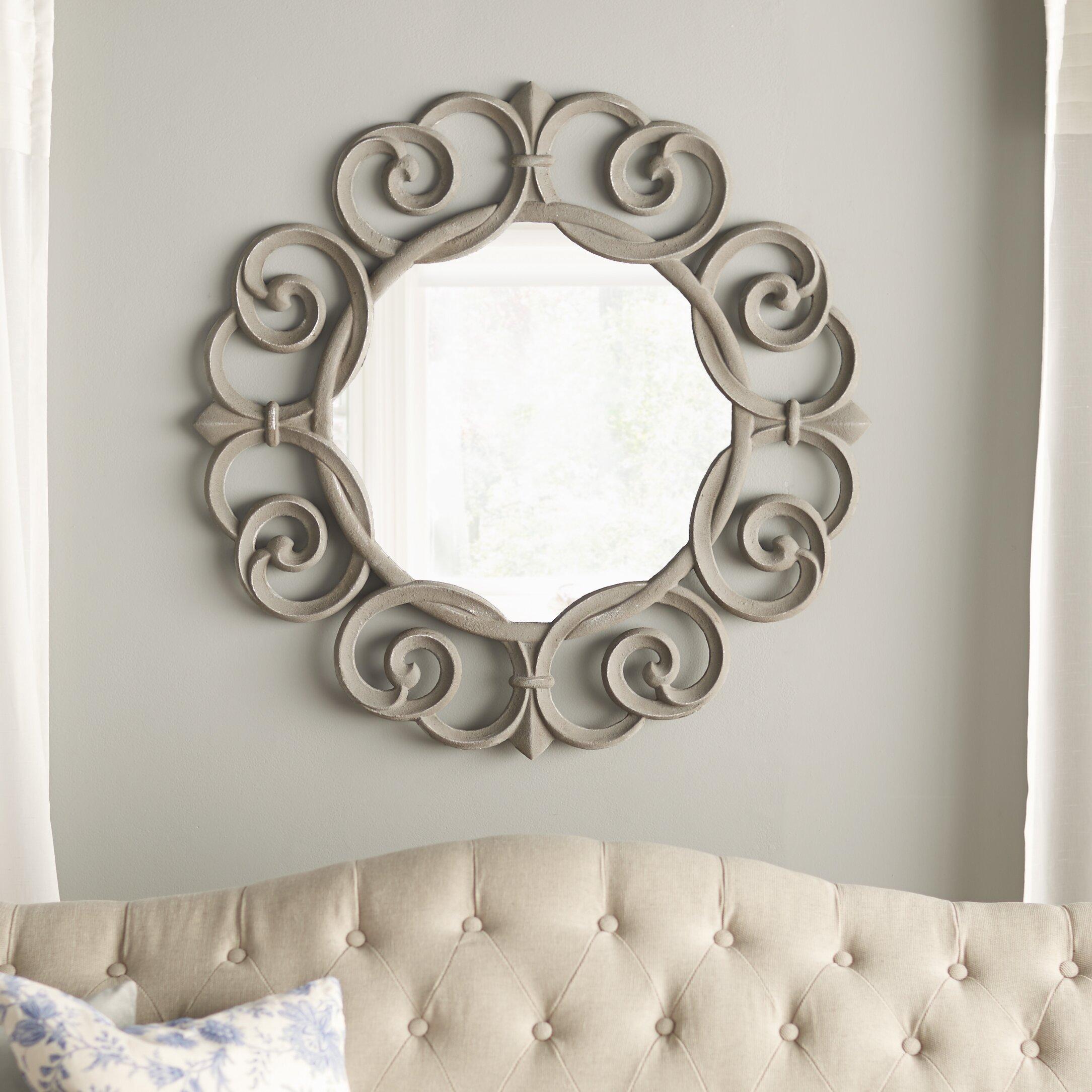 one allium way skyla round frame mirror