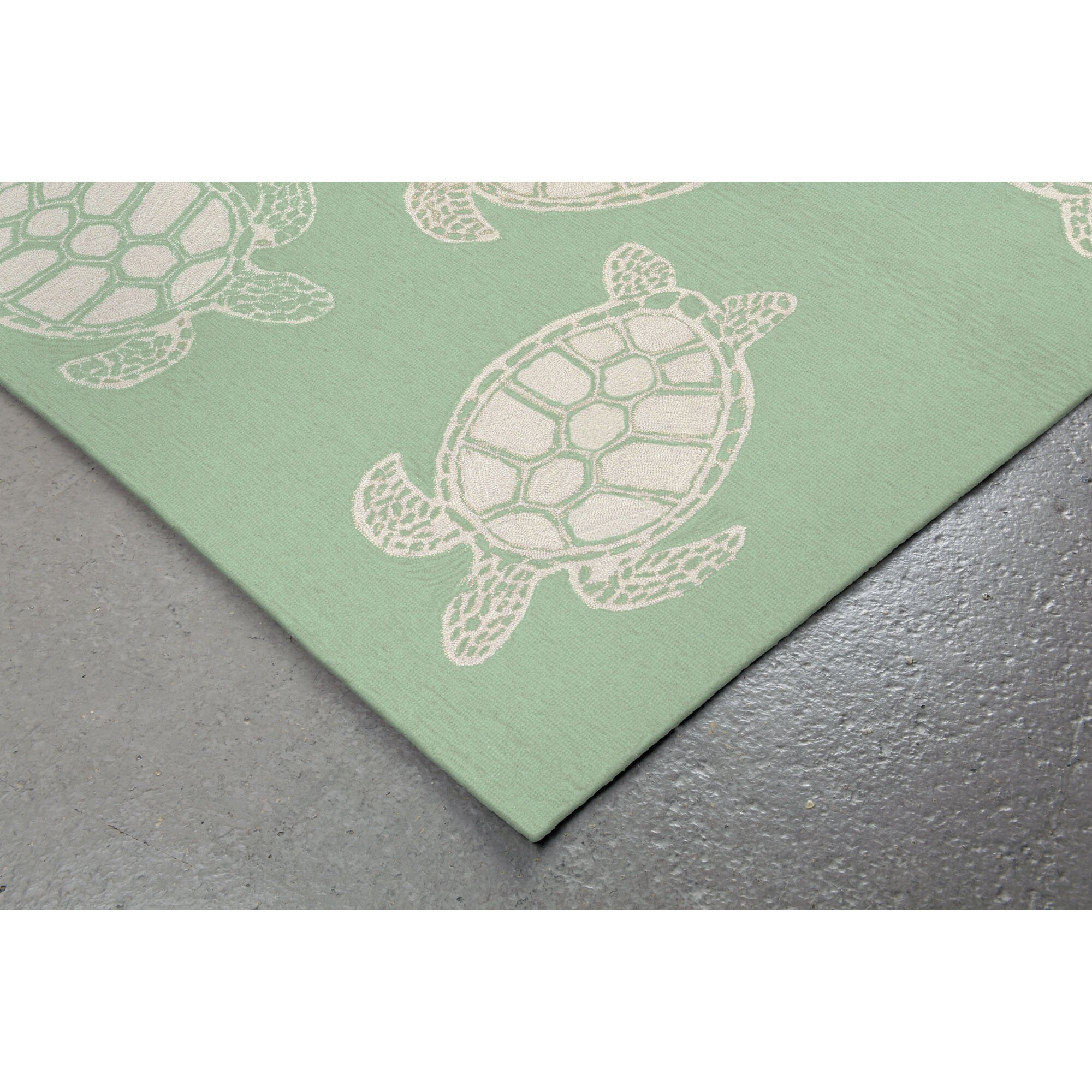 Beachcrest Home Tannis Turtle Hand-Tufted Green Indoor