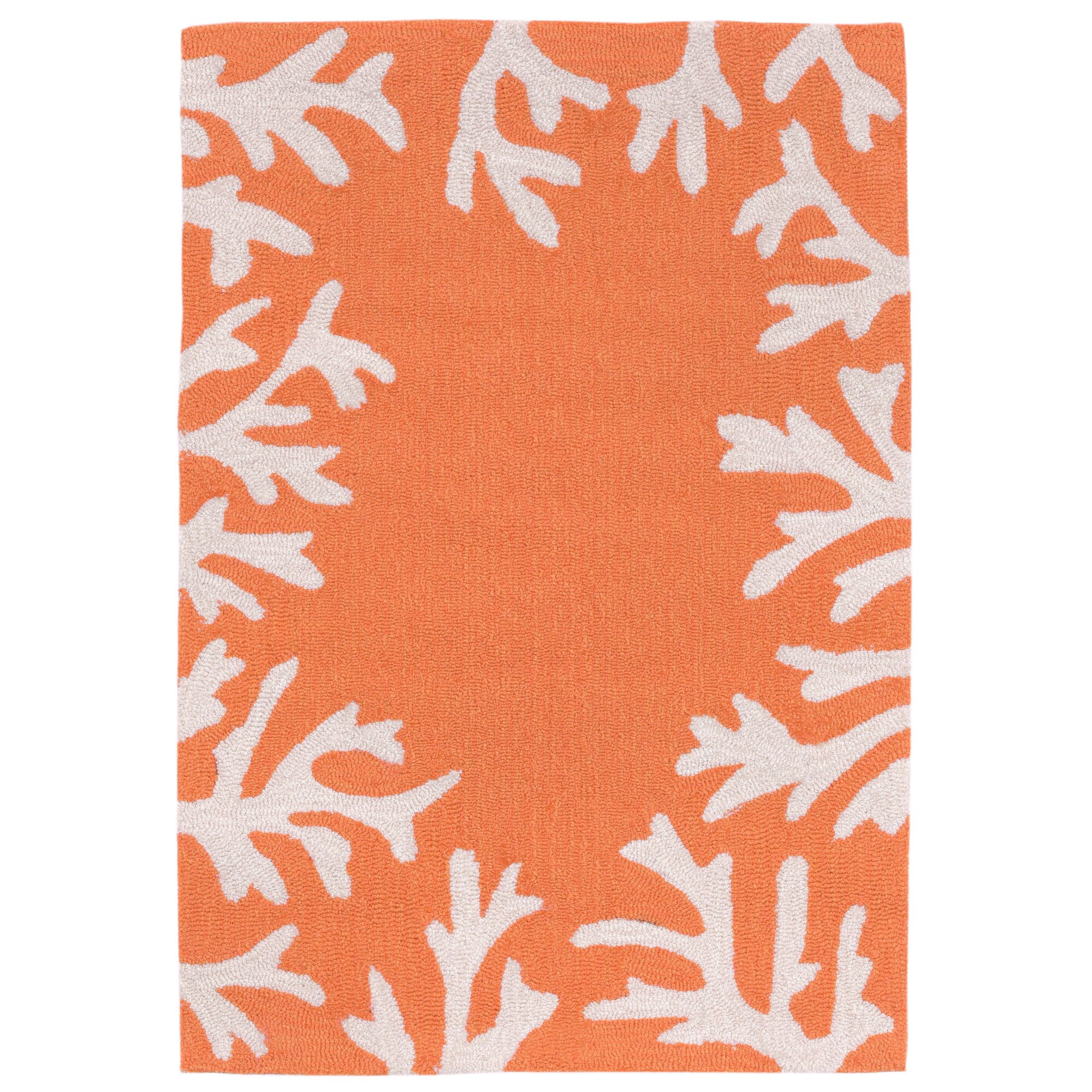 Beachcrest Home Tannis Coral Border Hand Tufted Orange