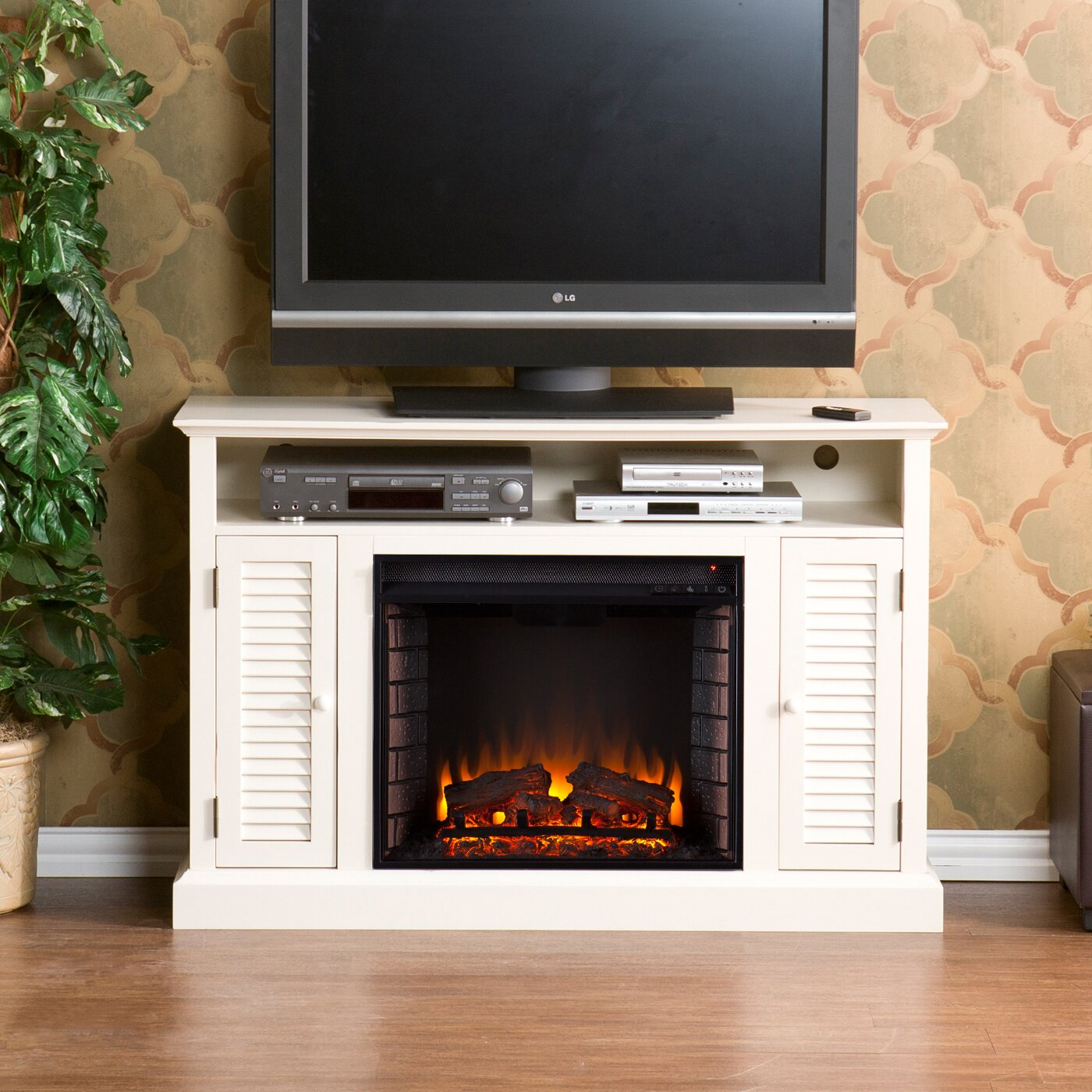 White tv stand with electric fireplace - Osmond Tv Stand With Electric Fireplace