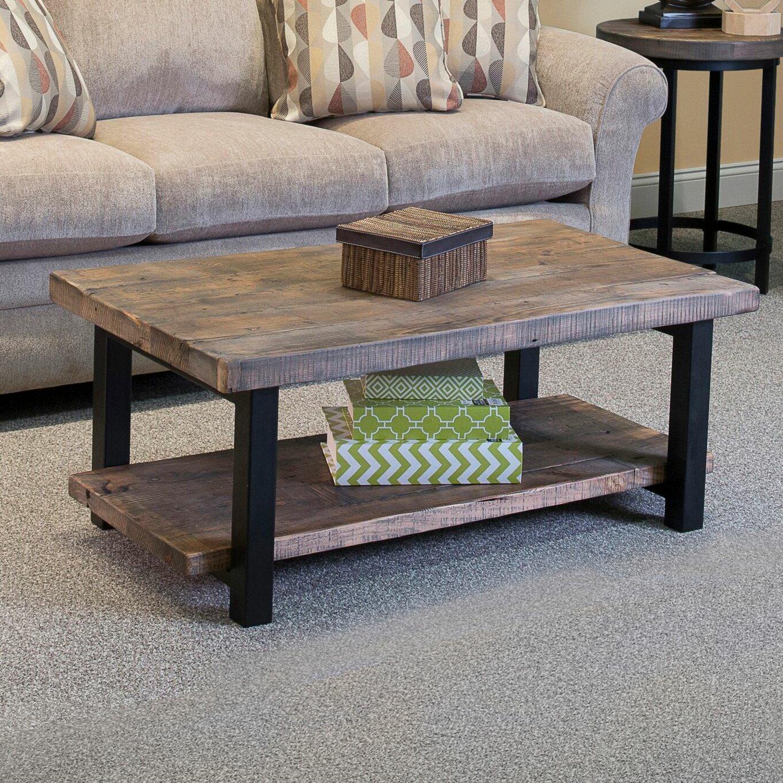 Scrolled metal and wood coffee table - Loon Peak Reg Somers 42 Quot Wood Metal Coffee Table