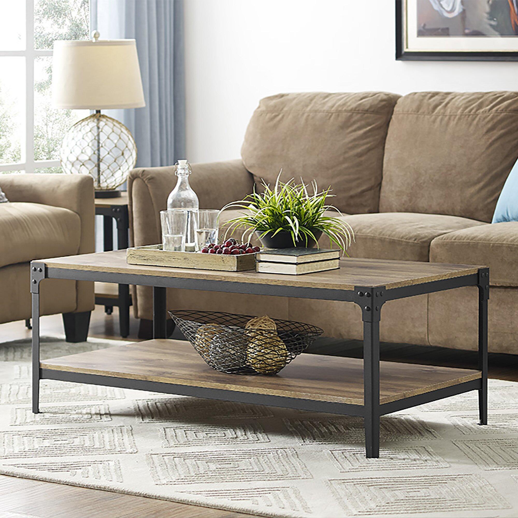 Rustic All Wood Coffee Table: Loon Peak Arboleda Rustic Wood Coffee Table & Reviews