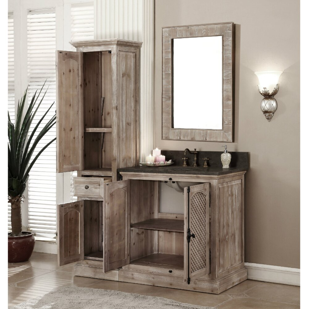 "Rustic Bathroom Vanity Set: Loon Peak Vice 37"" Single Bathroom Vanity Set With Linen"