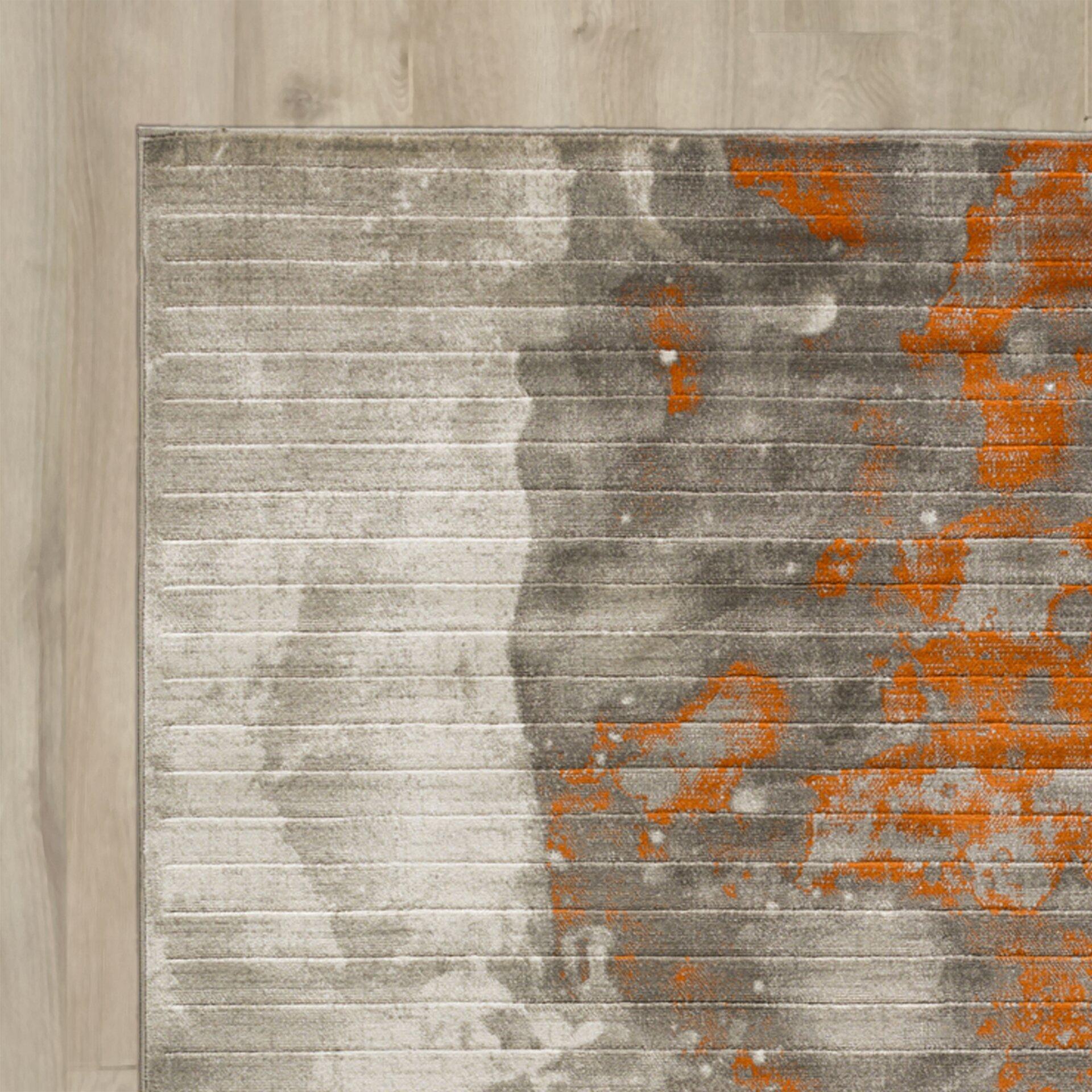 T Austin Chartwell Light Gray Burnt Orange Area Rug