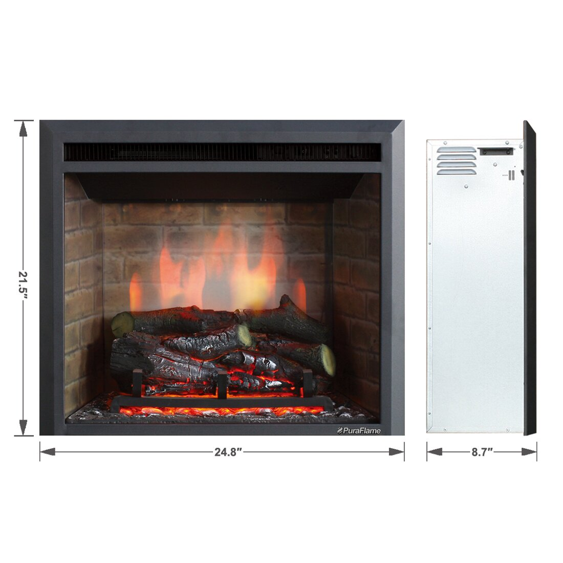 "Puraflame 33"" Black 750/1500W Western Wall Mount Electric Fireplace  Insert - Puraflame 33"