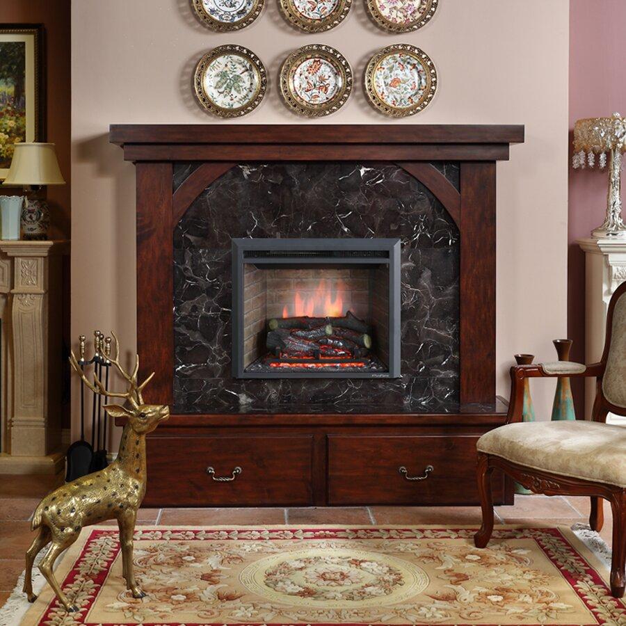 "Puraflame 33"" Black 750/1500W Western Wall Mount Electric Fireplace  Insert - Puraflame 33"