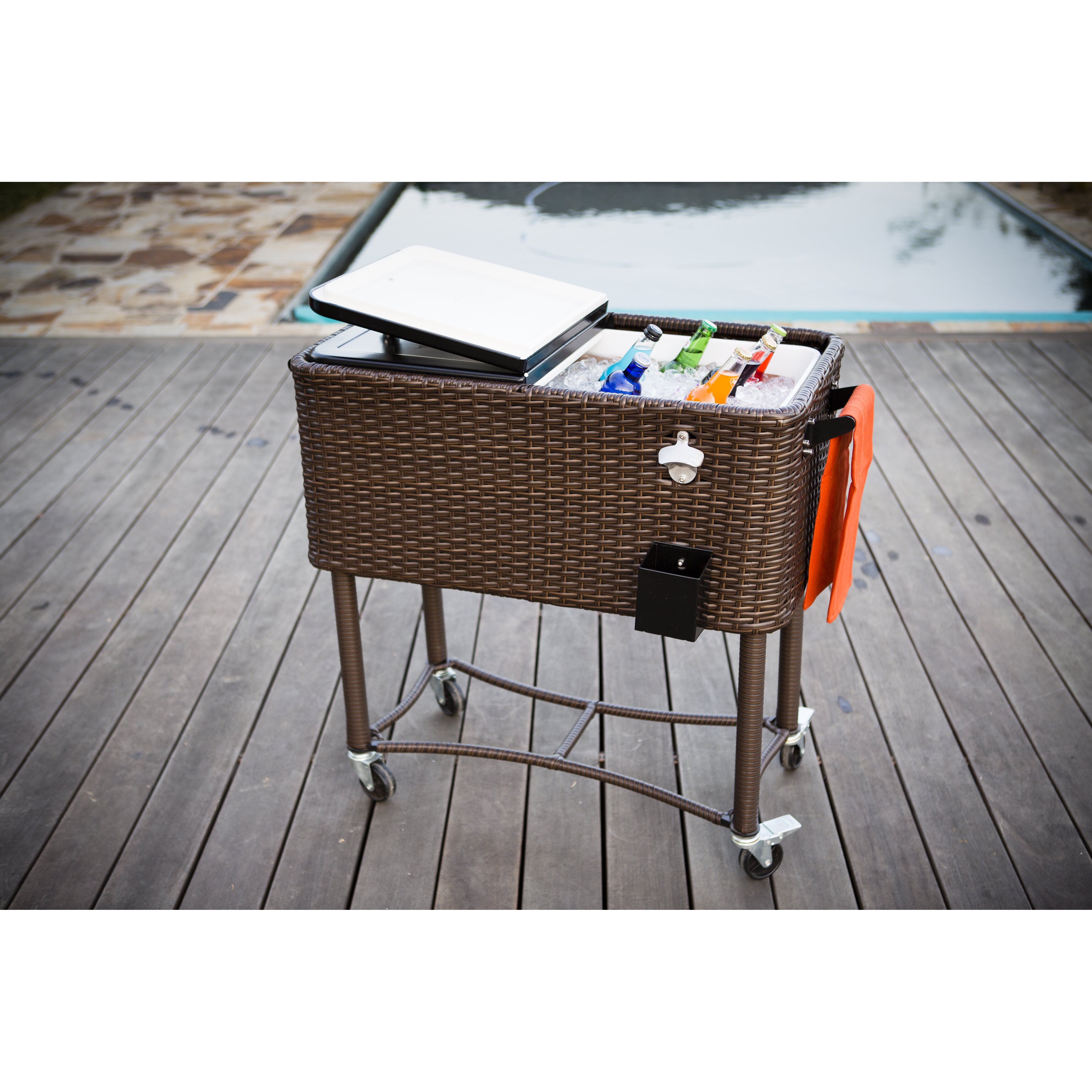 Permasteel 80 Qt Wicker Patio Rolling Cooler Amp Reviews