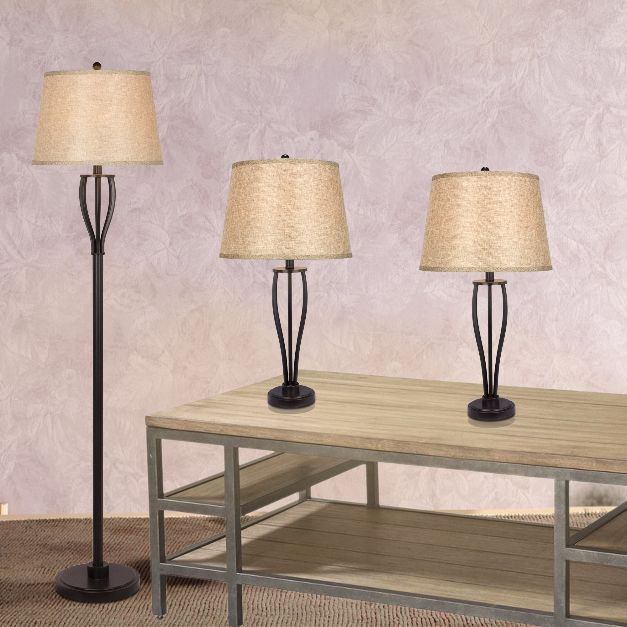 fangio 3 piece table and floor lamp set reviews wayfair. Black Bedroom Furniture Sets. Home Design Ideas