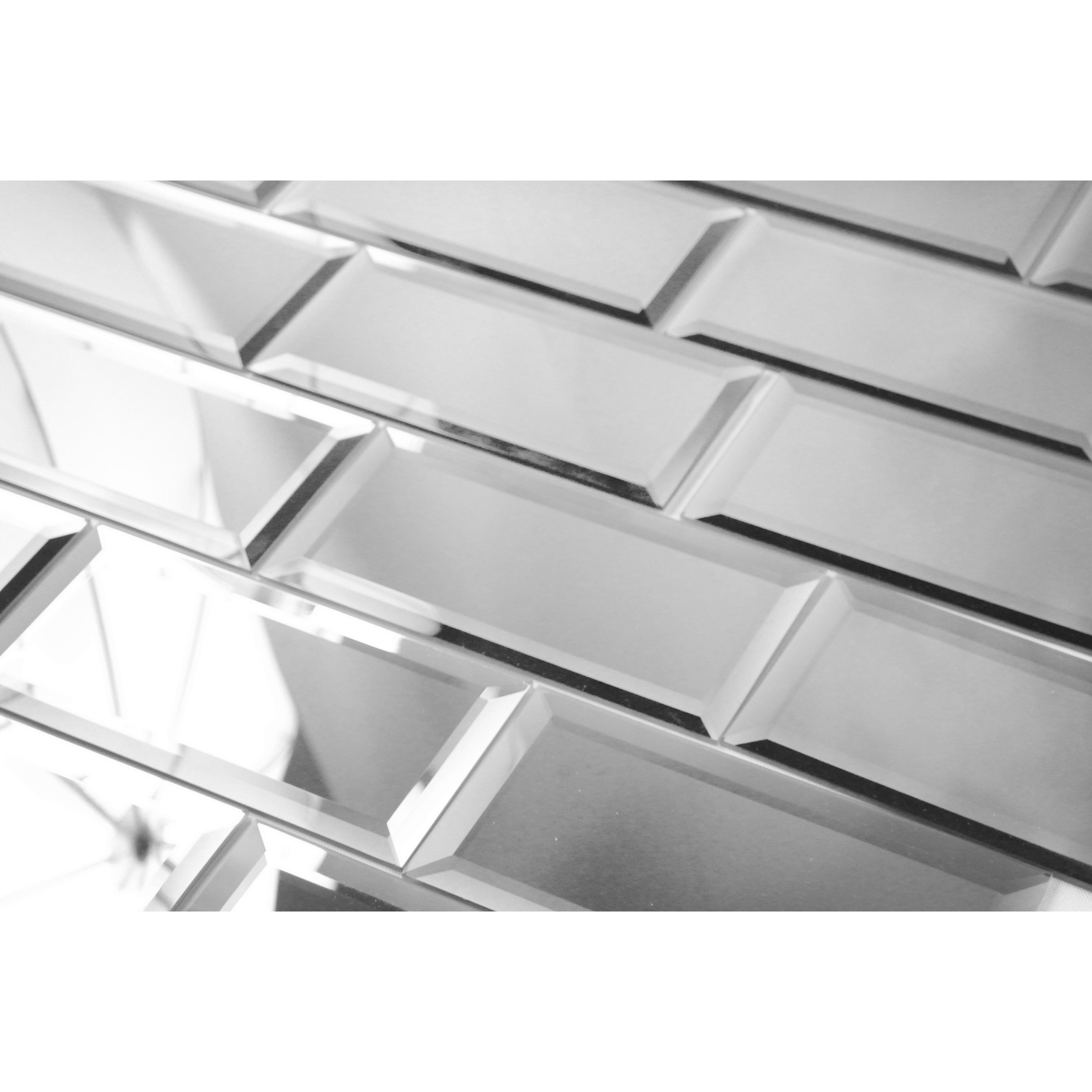 abolos echo 3 x 6 glass peel stick subway tile in silver reviews wayfair. Black Bedroom Furniture Sets. Home Design Ideas