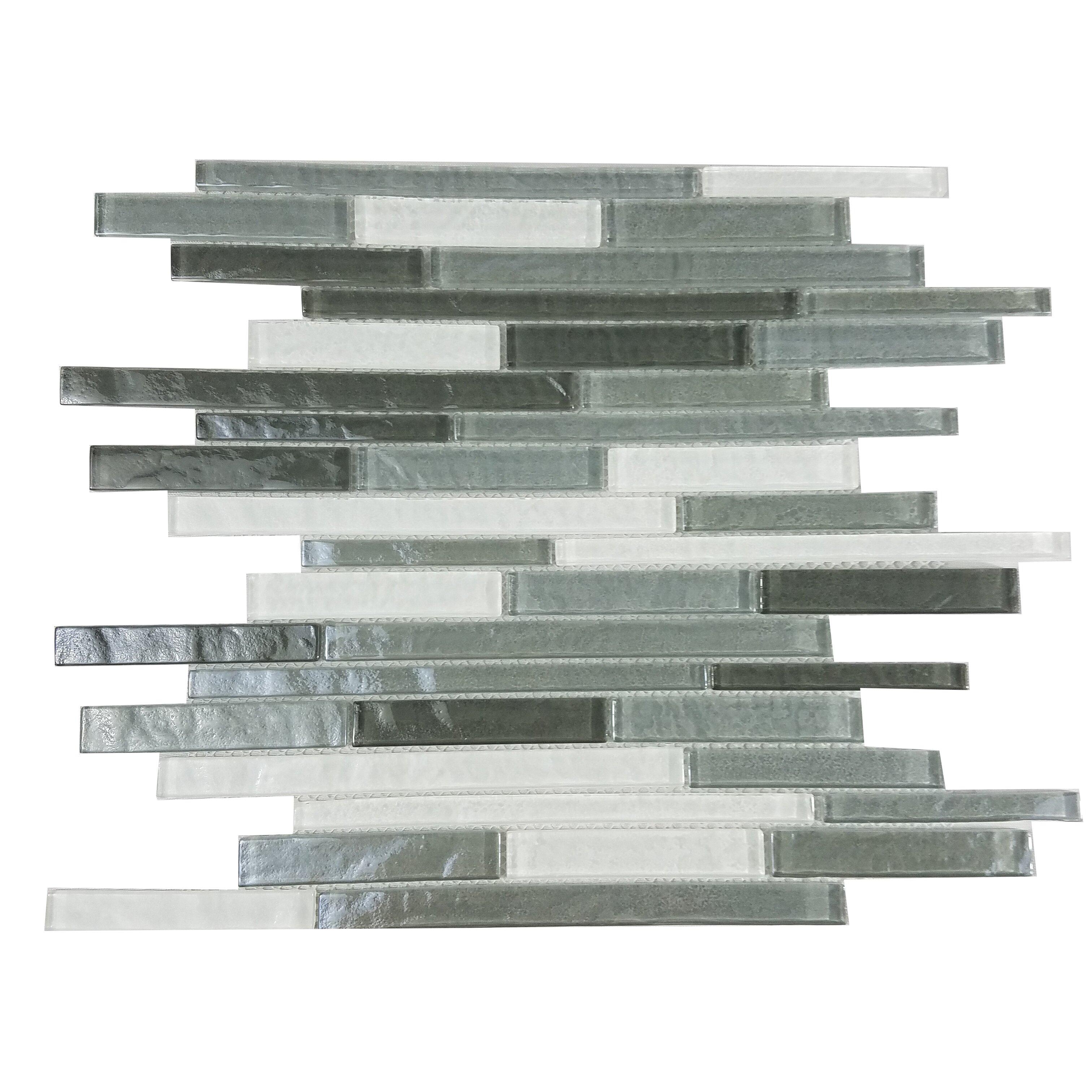 Abolos Geo Random Sized Glass Mosaic Tile in Gray ...