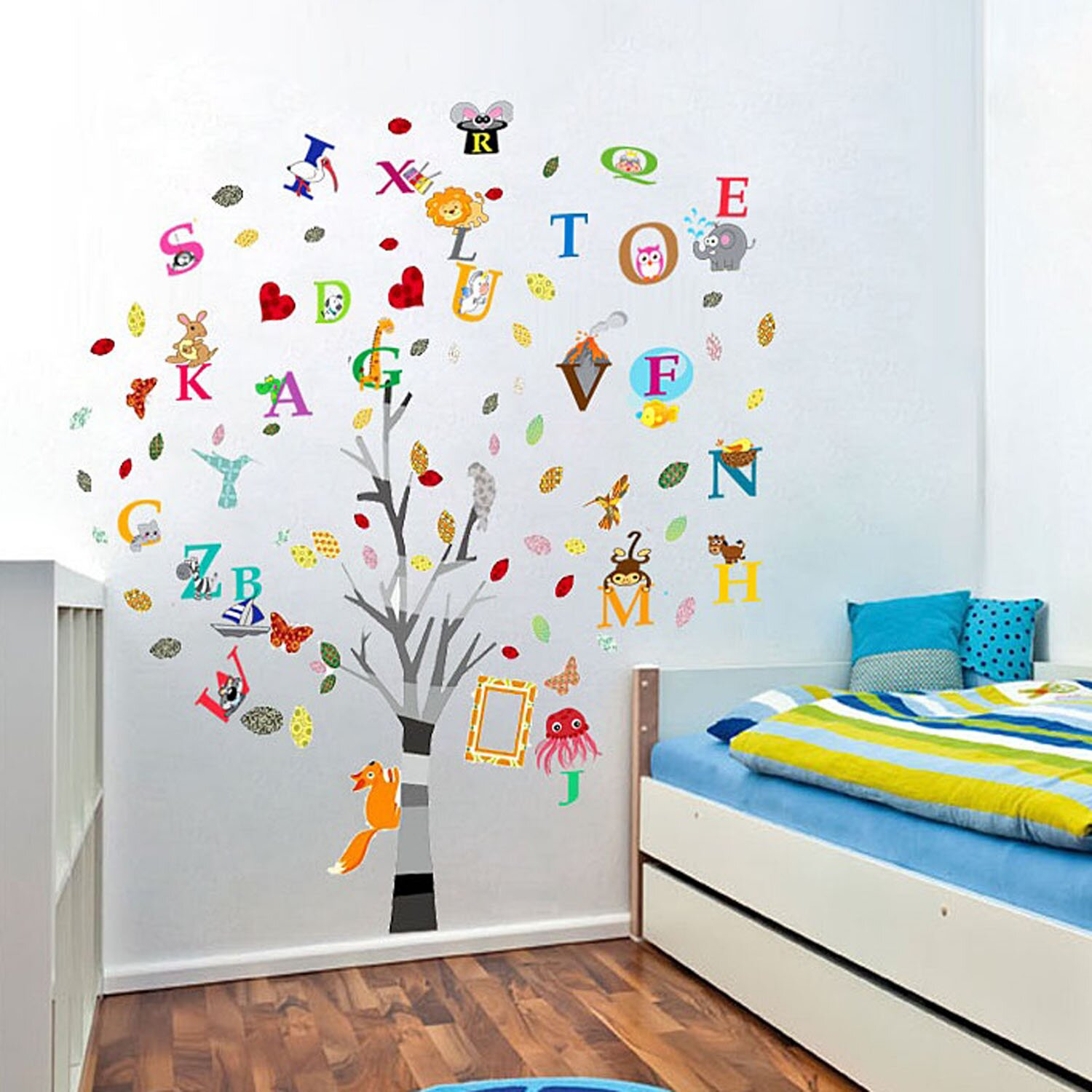 walplus children s nursery alphabet animal and tree wall children s tree with blossom vinyl wall sticker vinyl