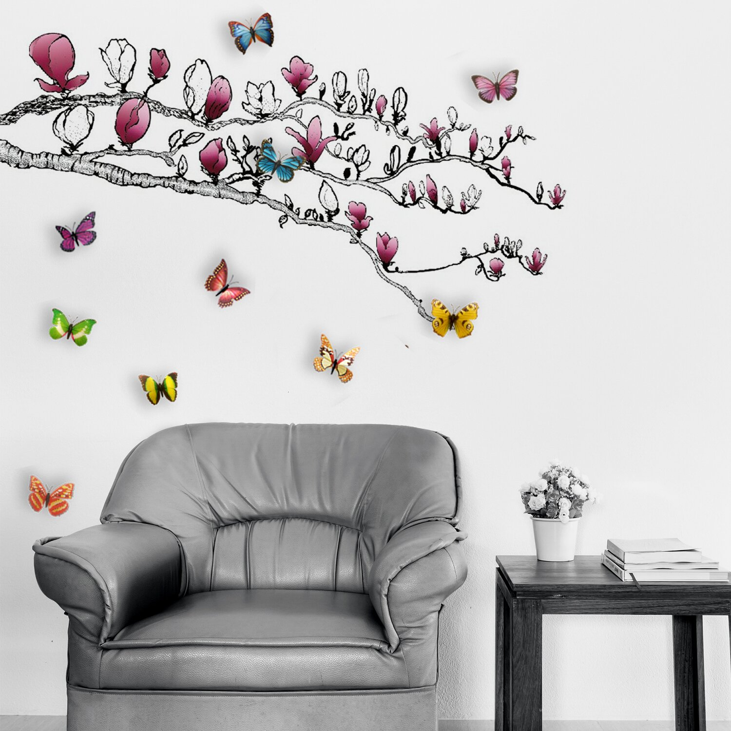 walplus huge magnolia and 3d colourful butterfly wall large tree wall decals trees decal nursery tree wall decals