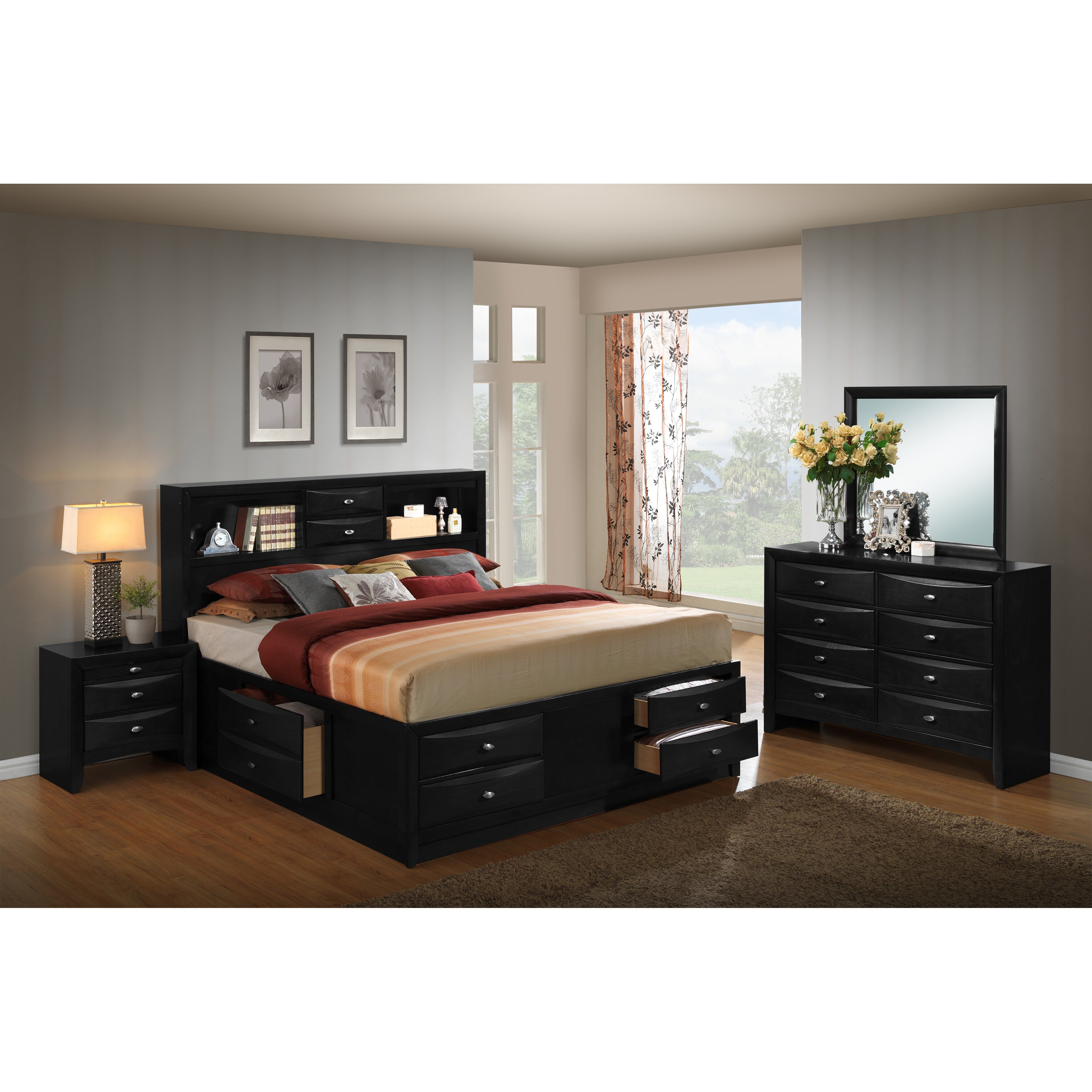Roundhill Furniture Blemerey Platform 4 Piece Bedroom Set