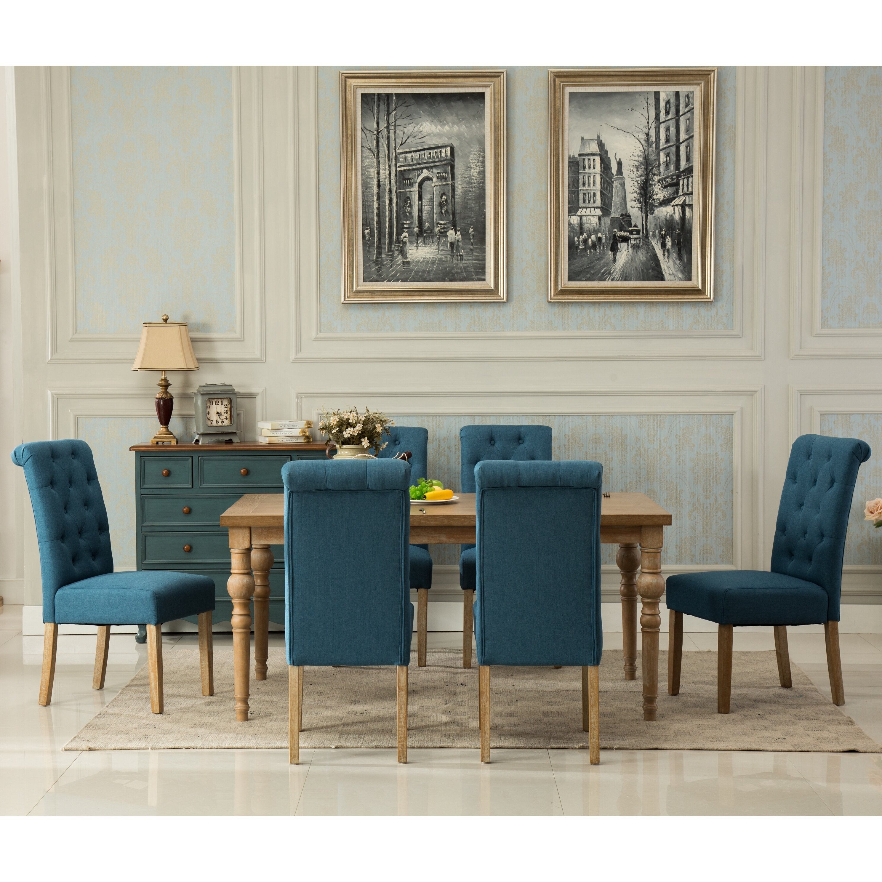 Roundhill Furniture Habitanian Solid Wood  Piece Dining Set - Dining room table solid wood