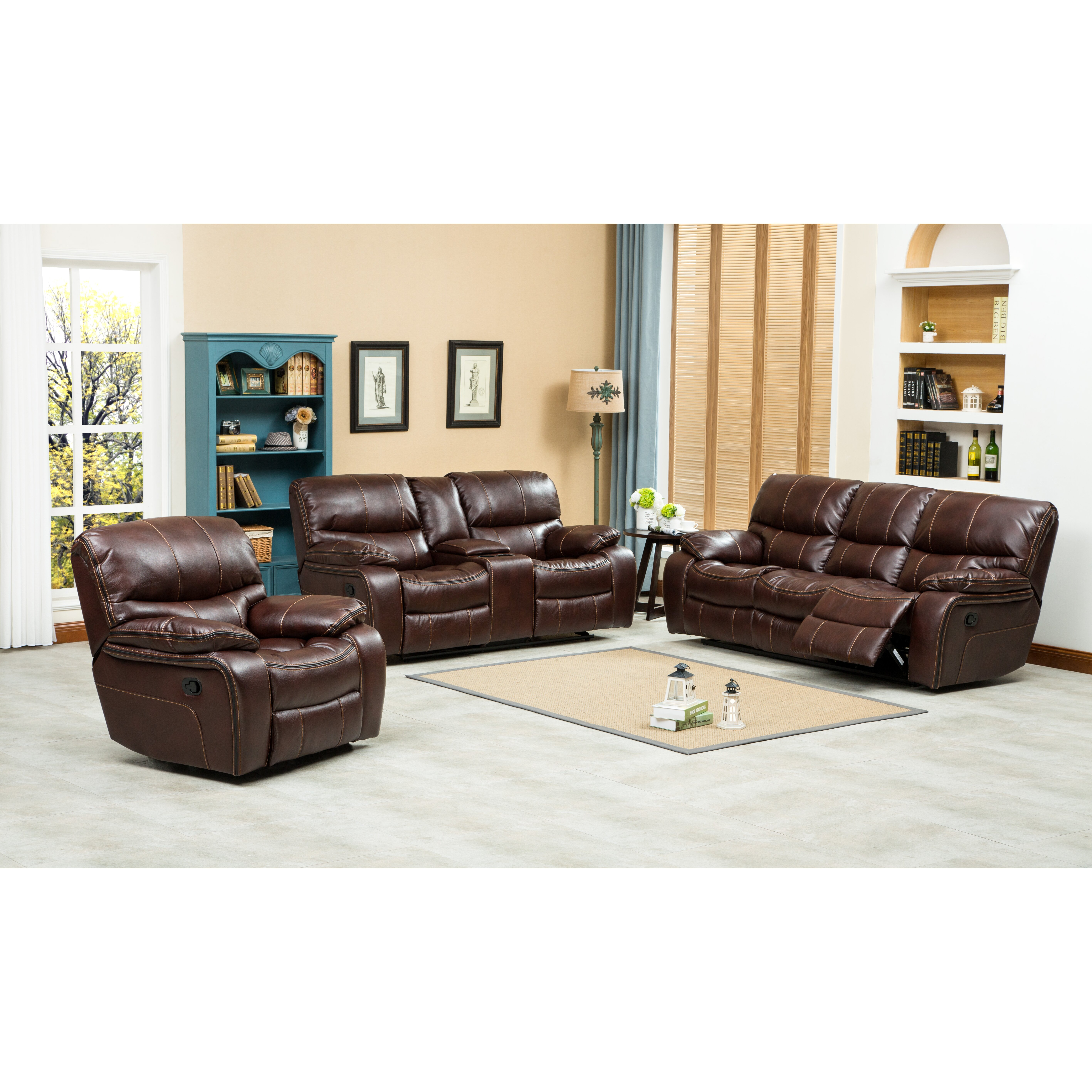 Three Piece Living Room Set Roundhill Furniture Ewa 3 Piece Reclining Leather Living Room Set