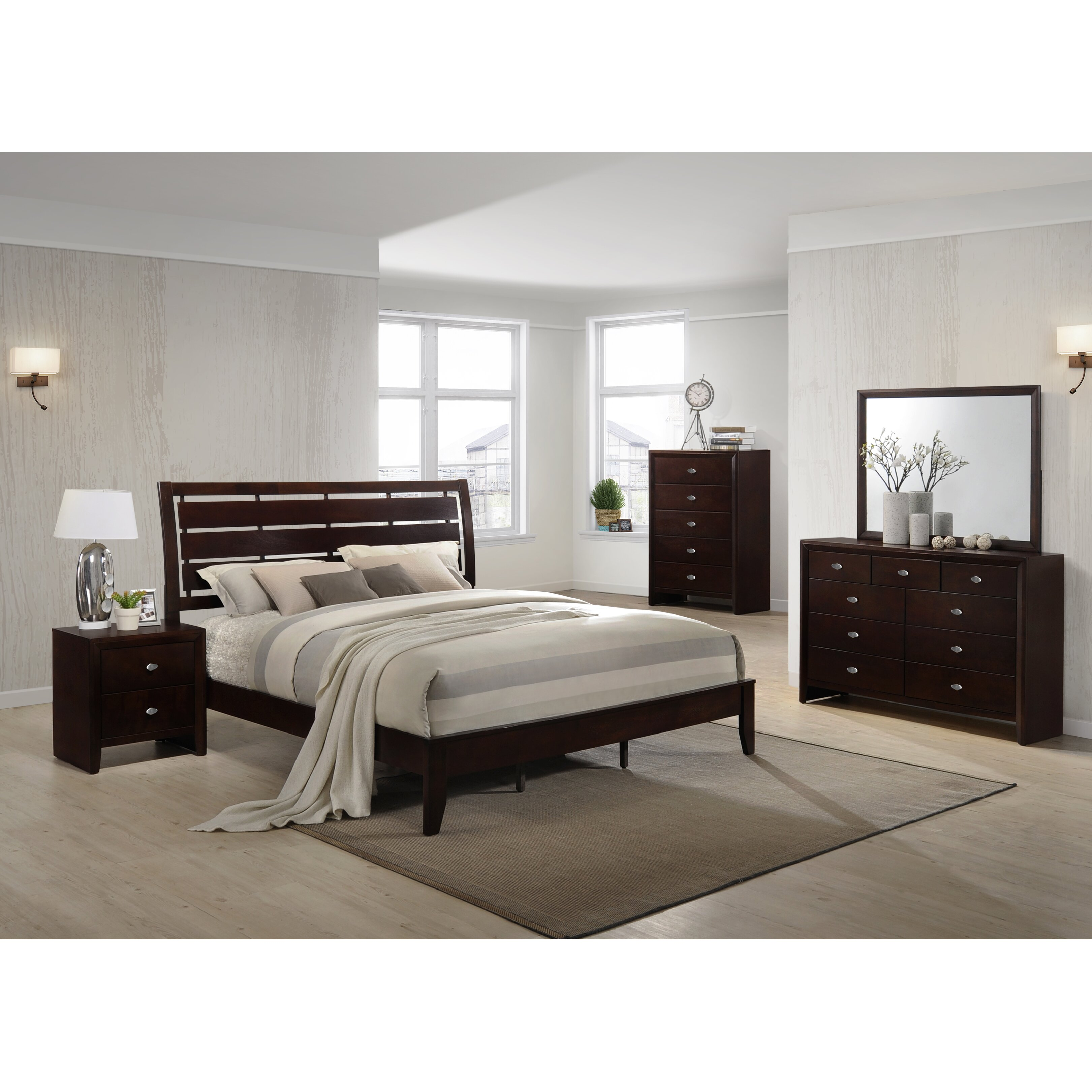 Roundhill furniture gloria panel 5 piece bedroom set for Furniture 2 day shipping
