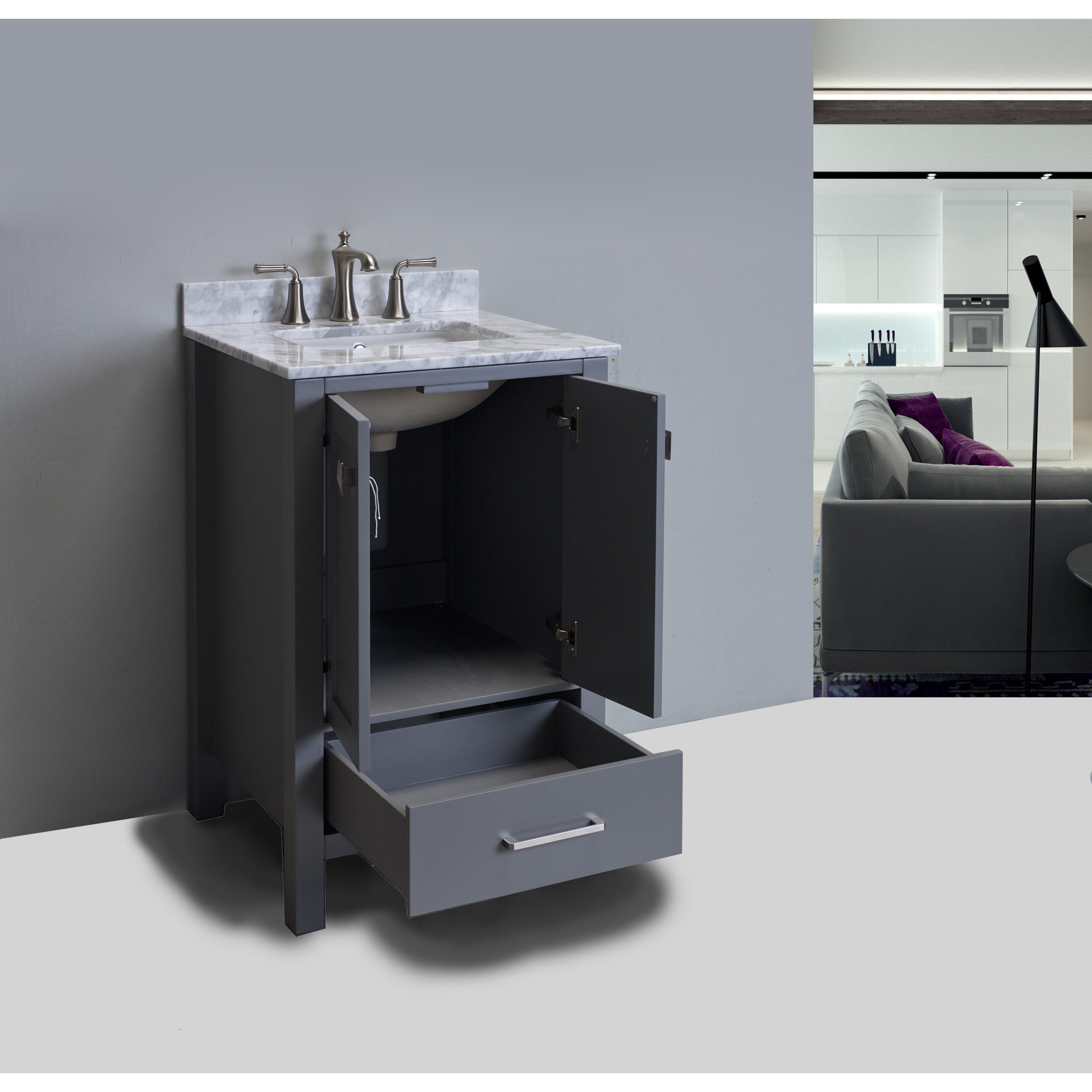 Just Cabinets Aberdeen Eviva Aberdeen 24 Single Bathroom Vanity Set Wayfair