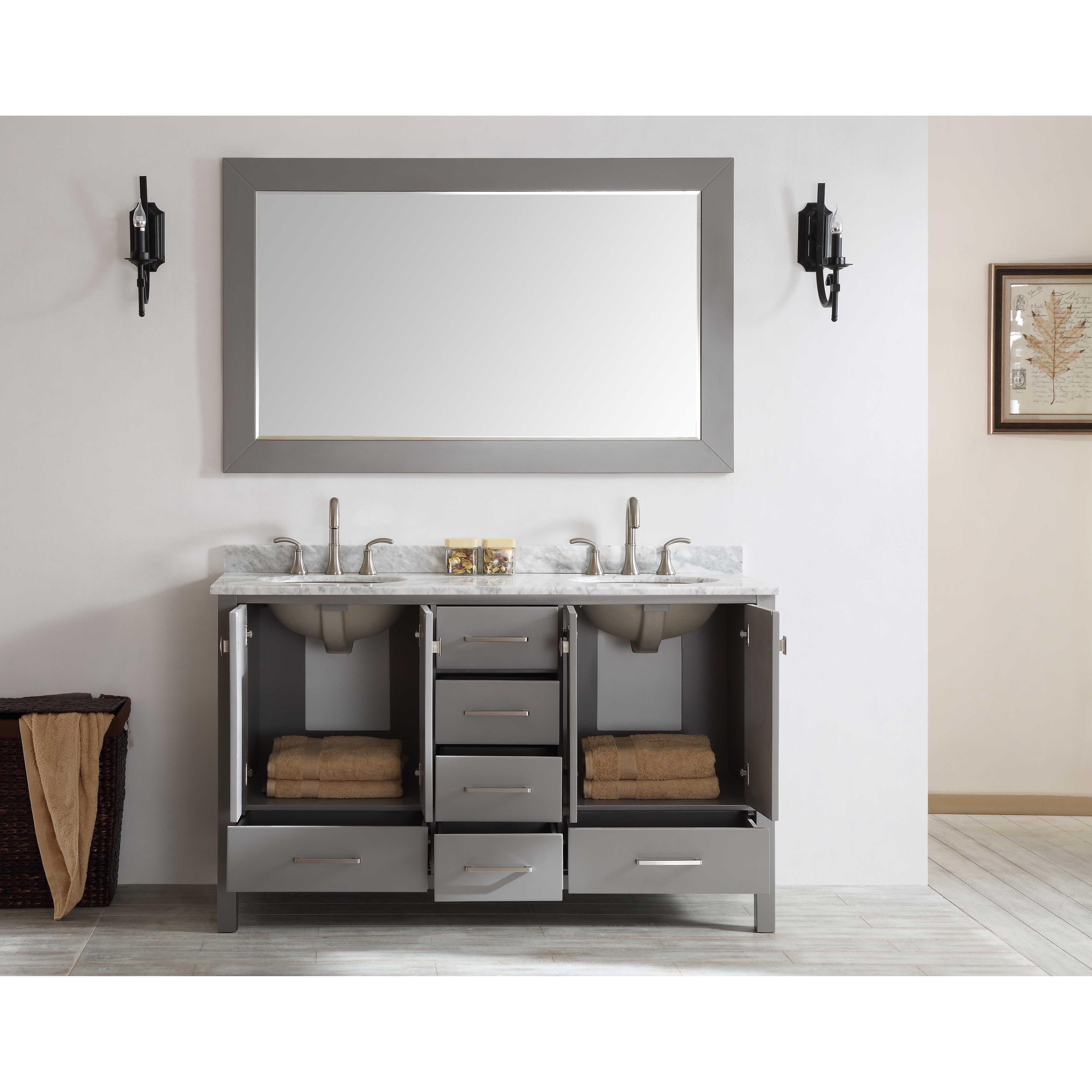 Just Cabinets Aberdeen Eviva Aberdeen 60 Double Bathroom Vanity Set Reviews Wayfair