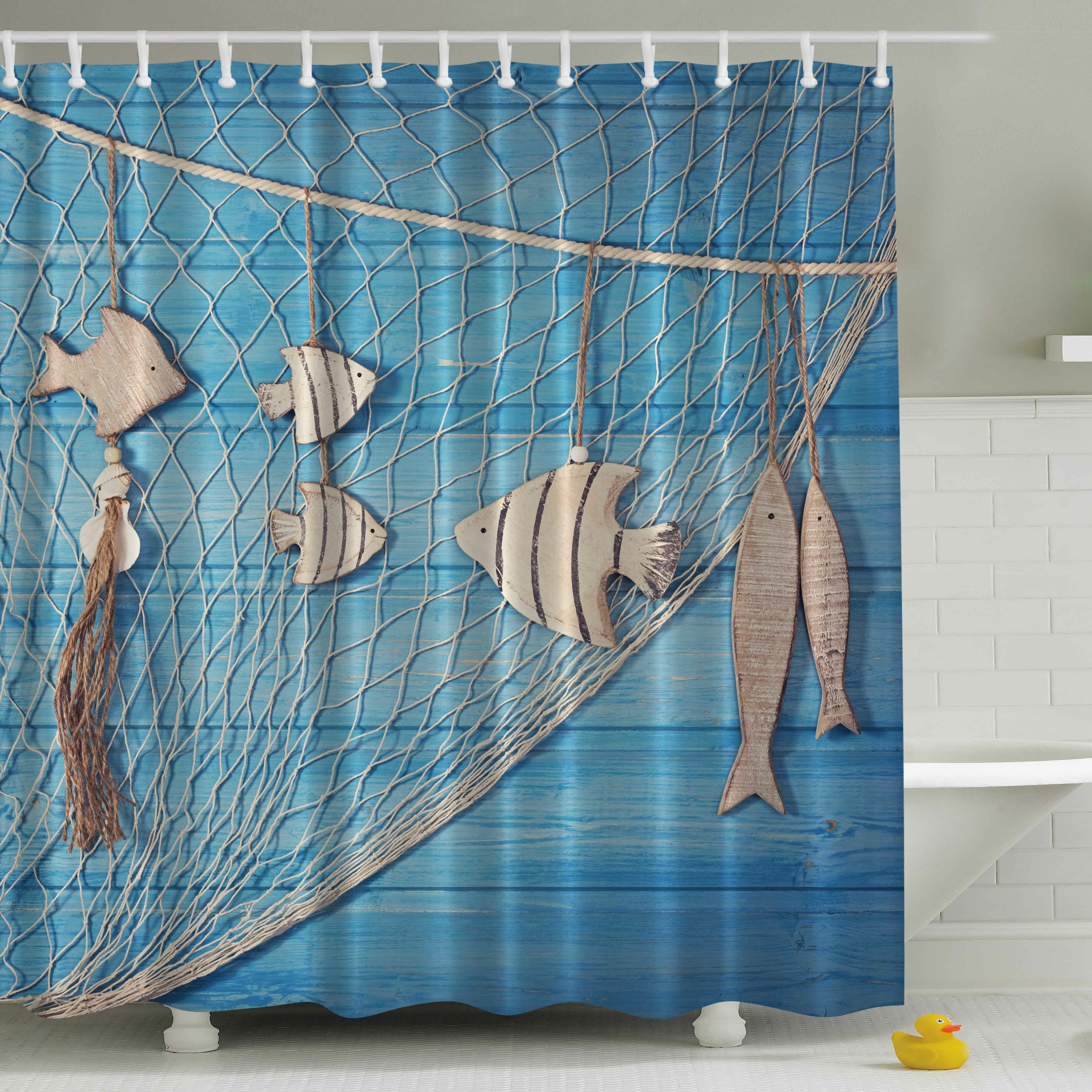Style selections eva peva print multi fish shower curtain at lowes com - Ambesonne Fish Net Print Shower Curtain Wayfair