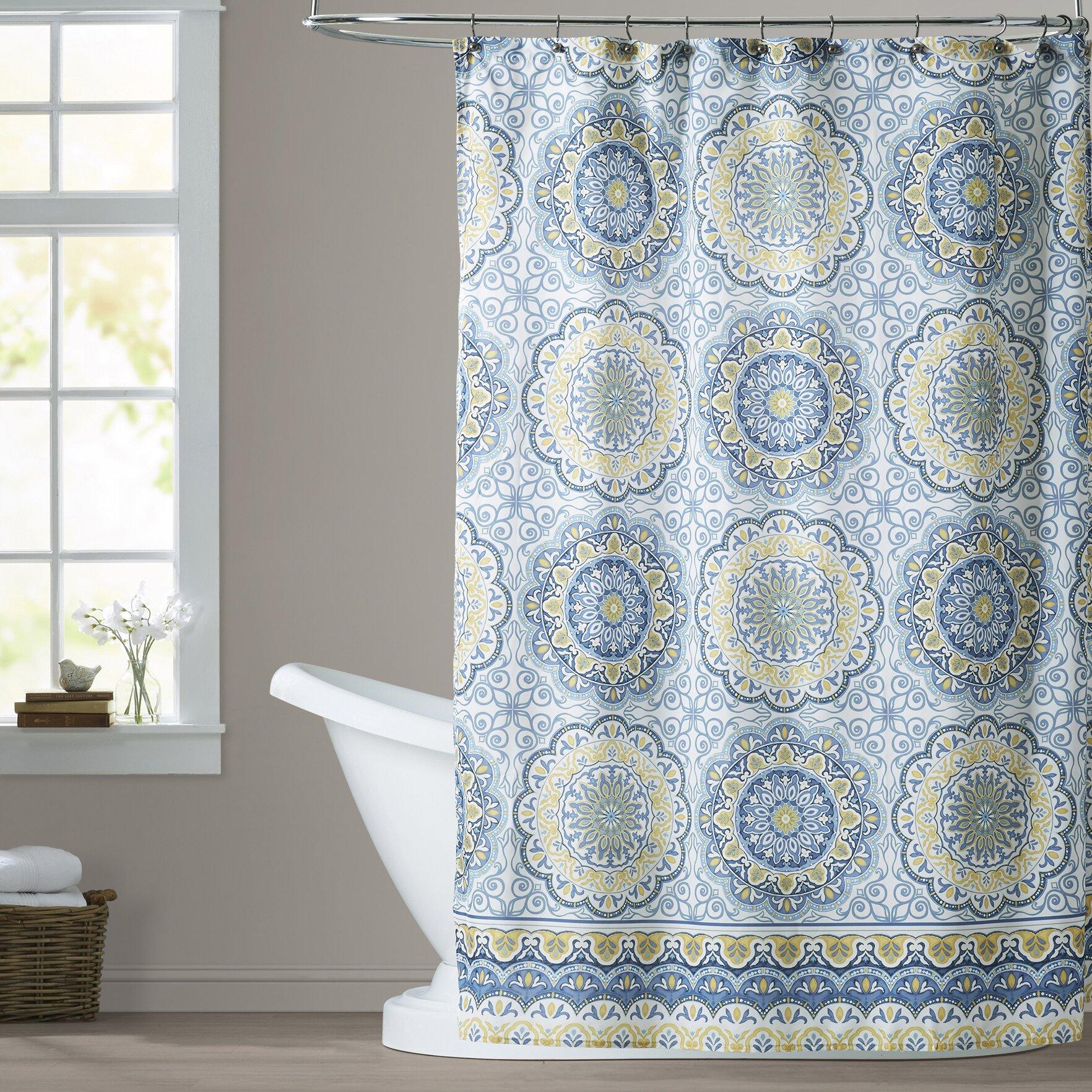 Green hookless shower curtain - Wayfair Hookless Shower Curtain Bungalow Rose Chloe Shower Curtain