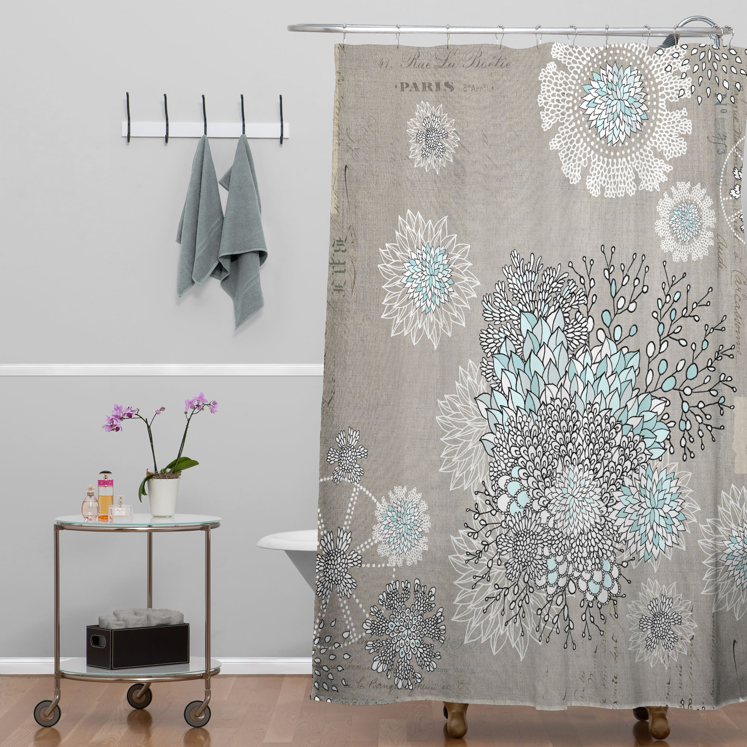 Gray And Blue Shower Curtain