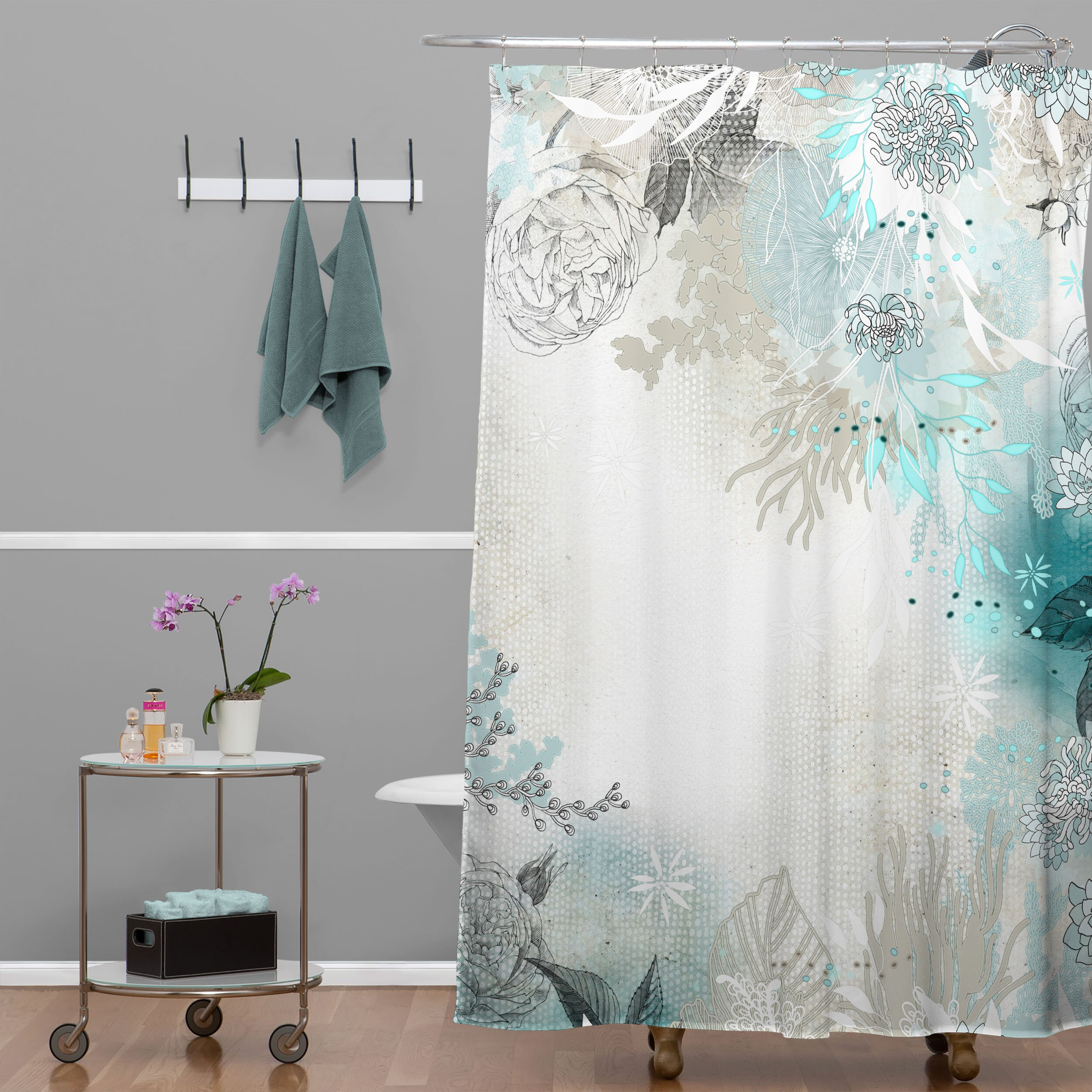 Light pink shower curtain - Blue And Pink Floral Curtains