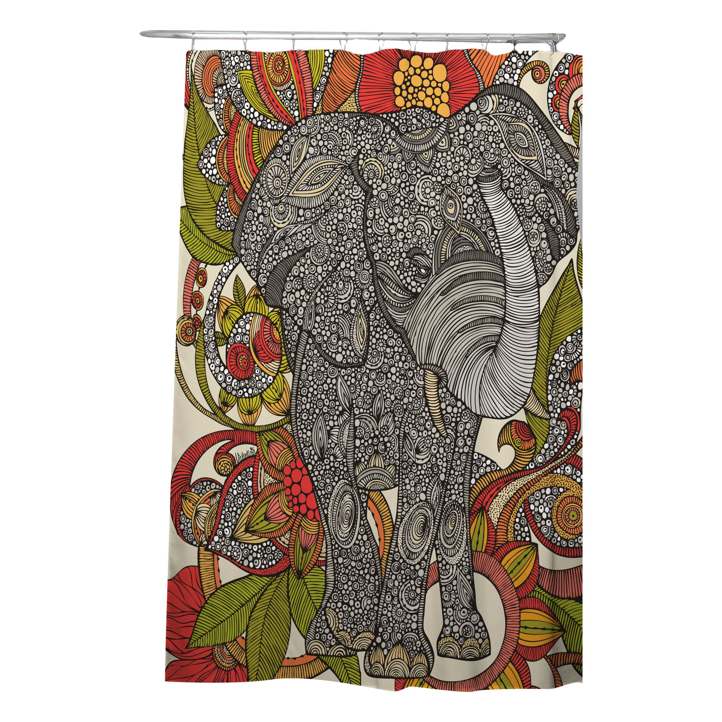 Peacock shower curtain urban outfitters - Elephant Shower Curtain Valentina Ramos Bungalow Rose Deepak Bo The Elephant Shower Curtain