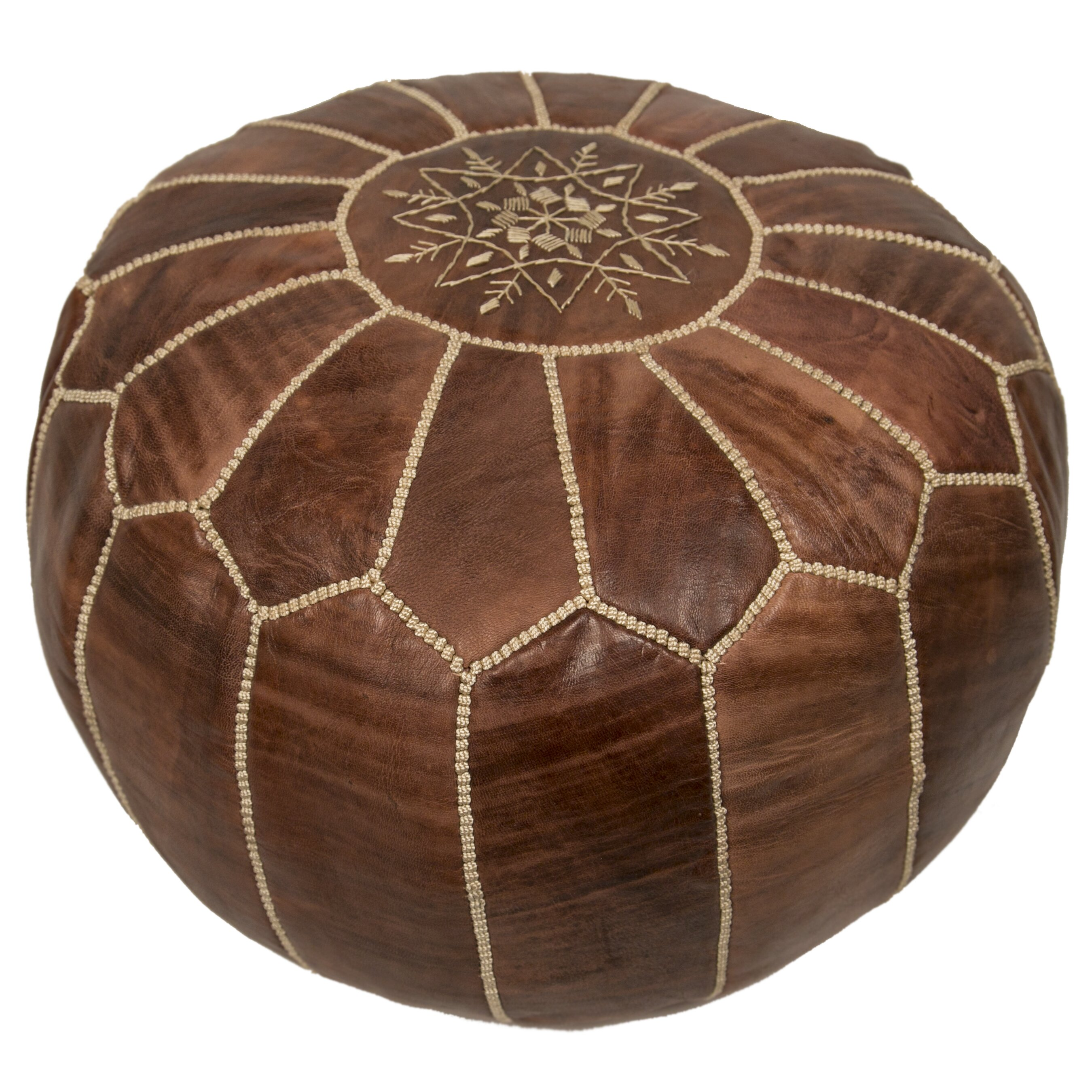 bungalow rose embroidered pouf leather ottoman reviews. Black Bedroom Furniture Sets. Home Design Ideas