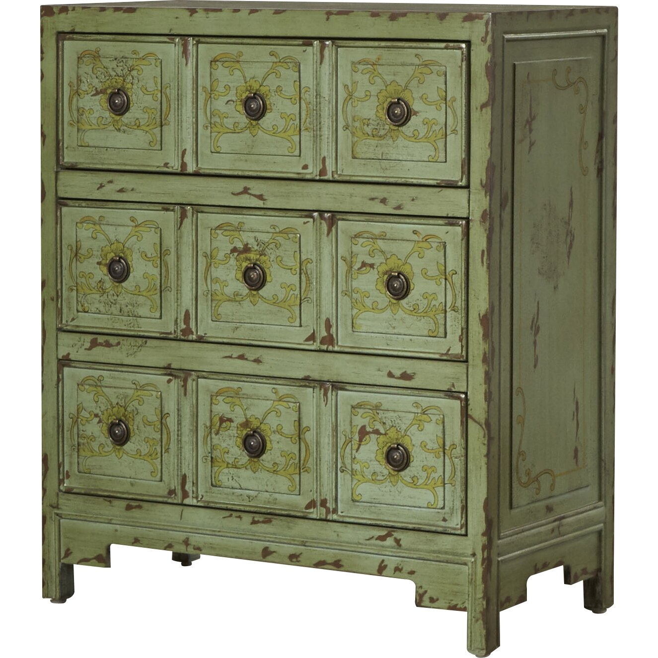 Bungalow rose harrouda hand painted 3 drawer chest for Hand painted chests