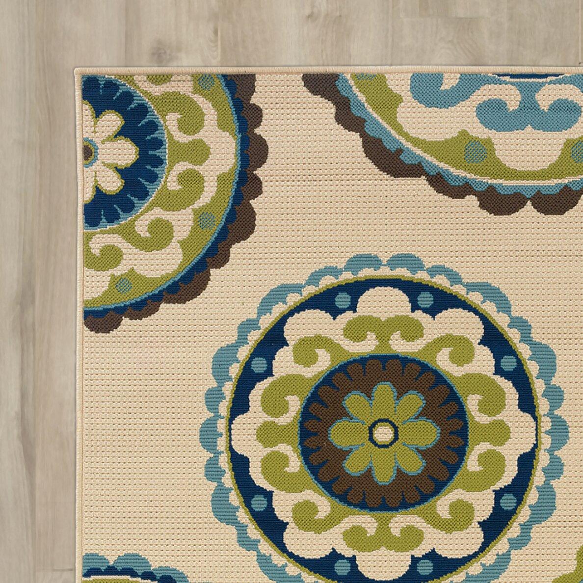 Green Patio Rug 5x7: Bungalow Rose Capri Beige/Green Indoor/Outdoor Area Rug