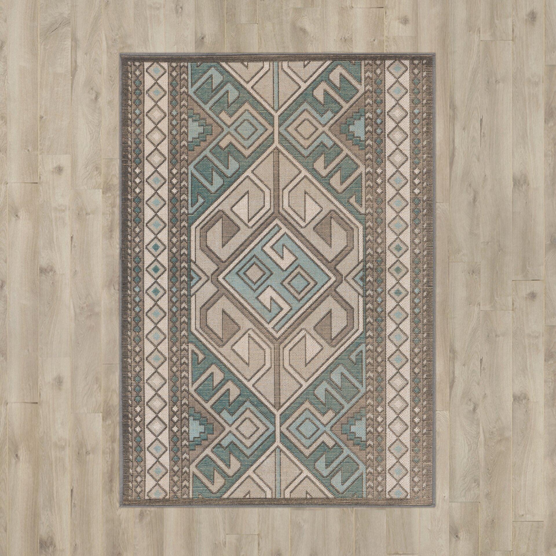 brown teal rug