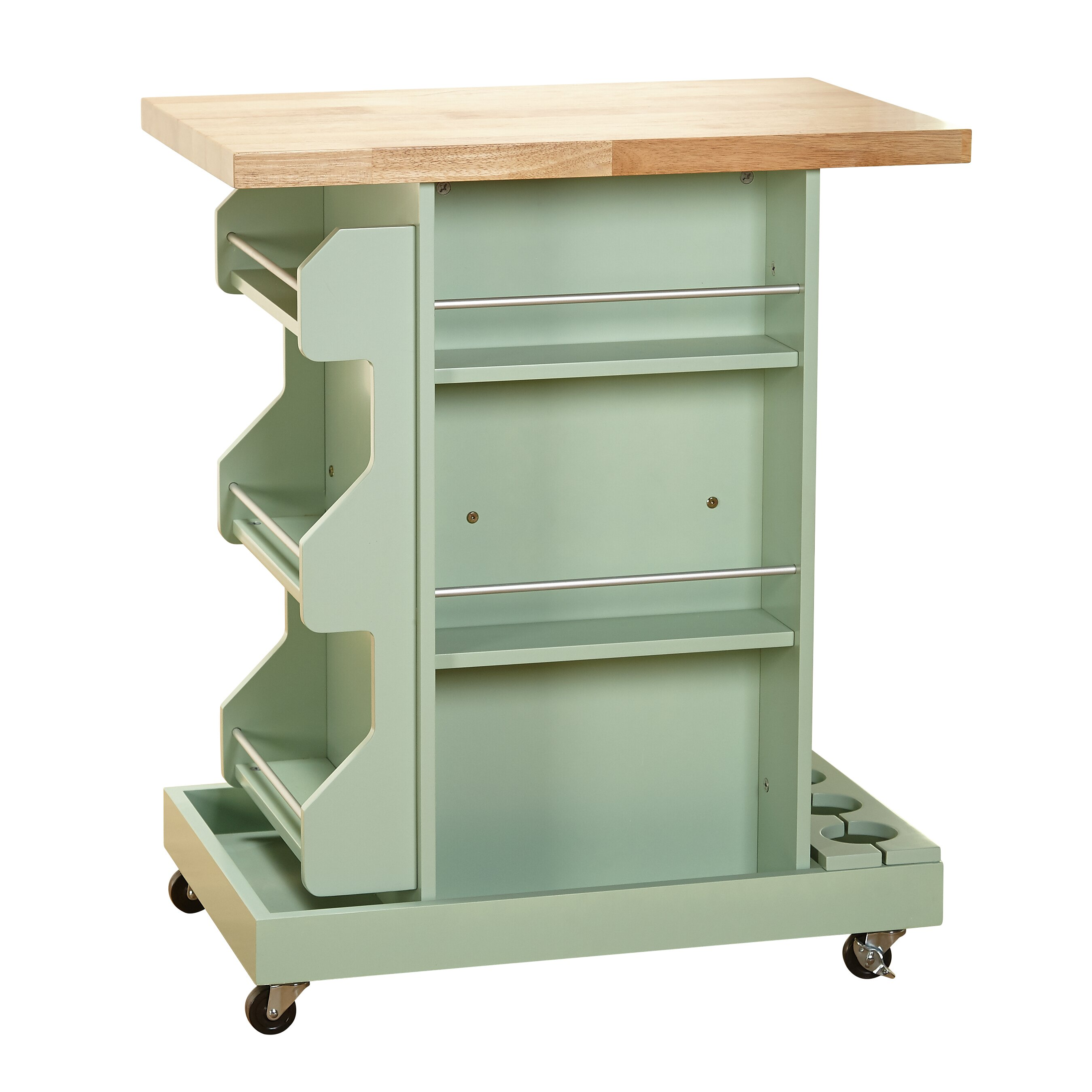 Bungalow Rose Navya Wood Storage Bedroom Bench Reviews: Bungalow Rose Ruby Kitchen Cart With Wood Top & Reviews