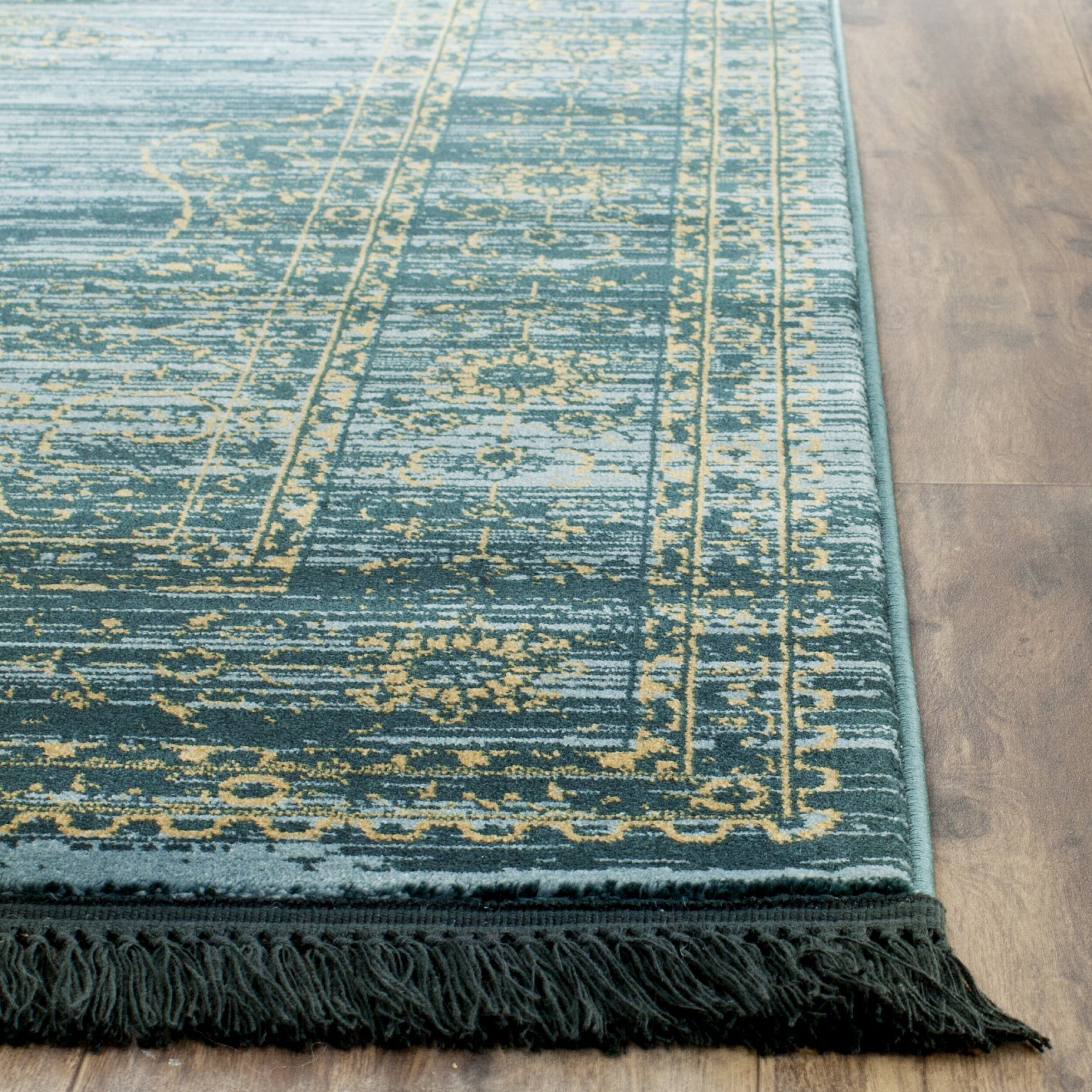 Bungalow Rose Zennia Turquoise/Gold Area Rug & Reviews
